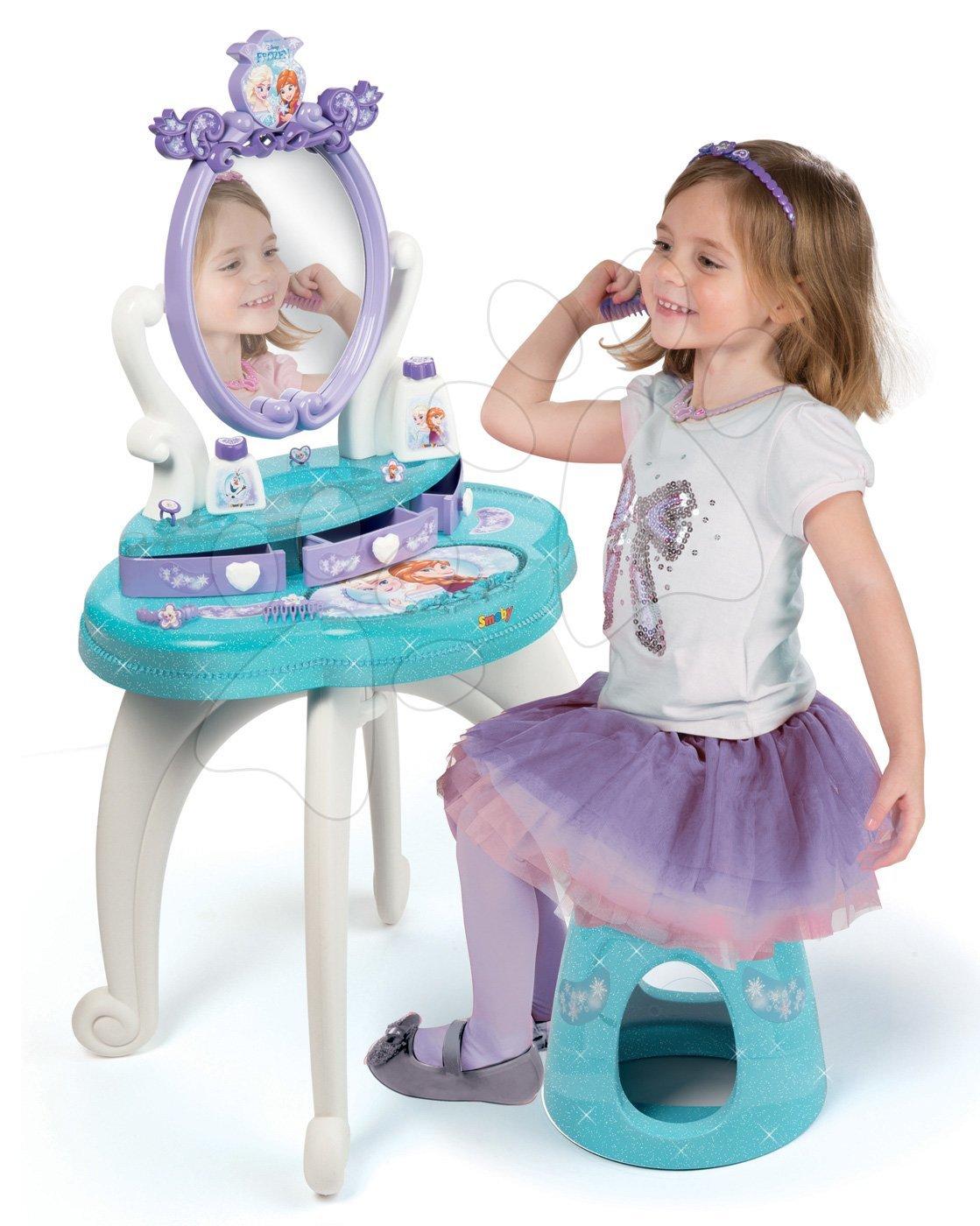 Kozmetický stolík Frozen 2v1 Smoby so stoličkou a 10 doplnkov