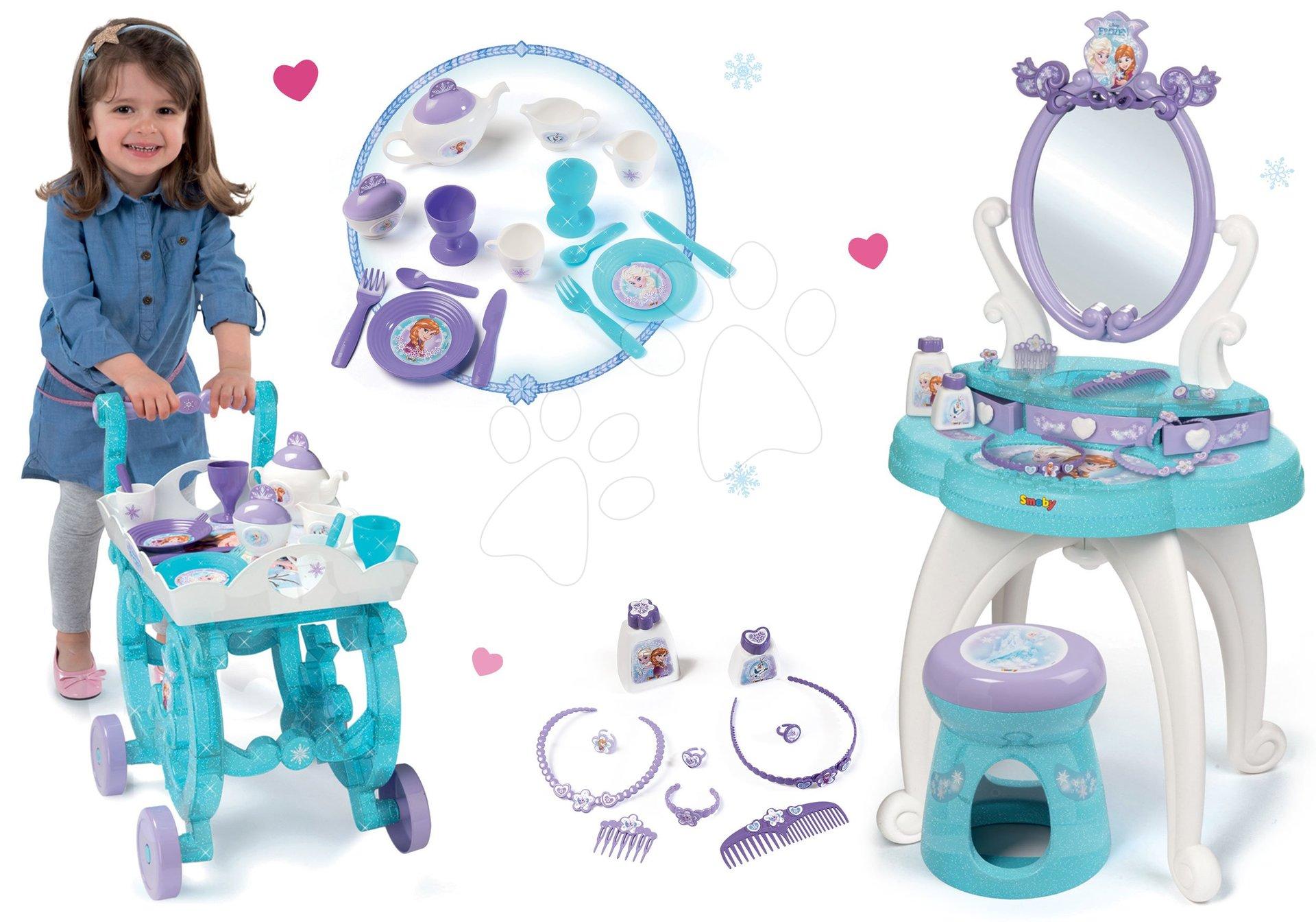 Komplet kozmetična miza Frozen Smoby s stolom in čajni servis Frozen na servirnem vozičku