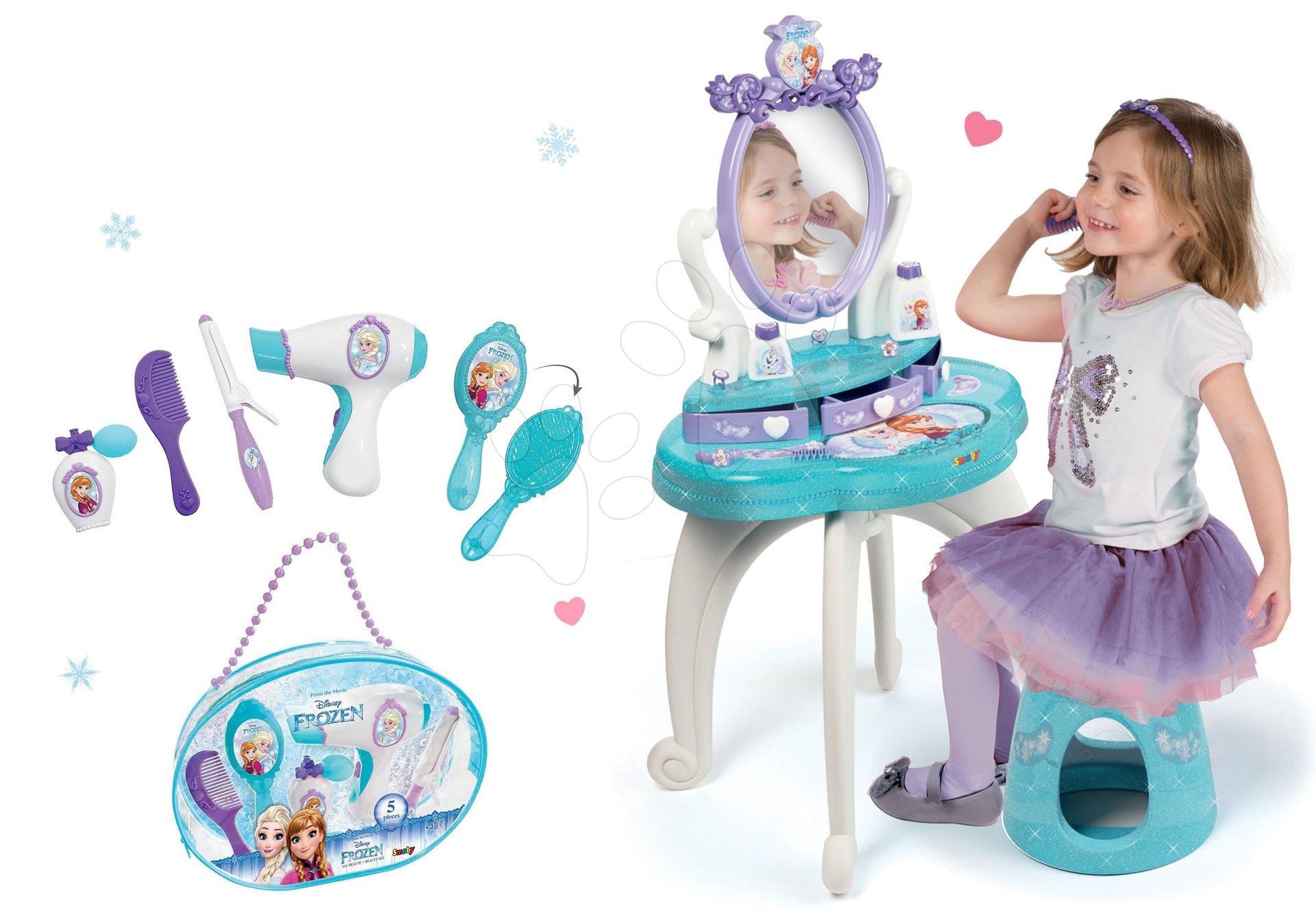 Set kozmetický stolík Frozen Smoby so stoličkou a kadernícky set so sušičom na vlasy Frozen