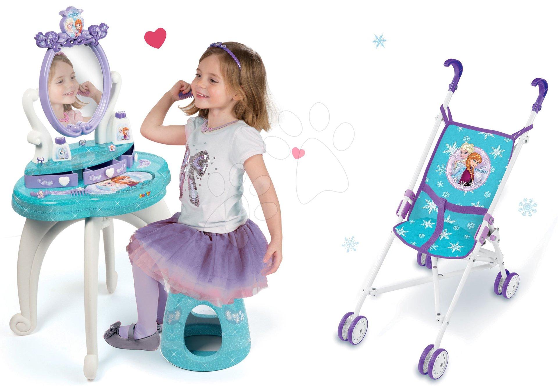 Komplet kozmetična miza Frozen Smoby s stolom in globok voziček za dojenčka Frozen (58 cm ročaj)