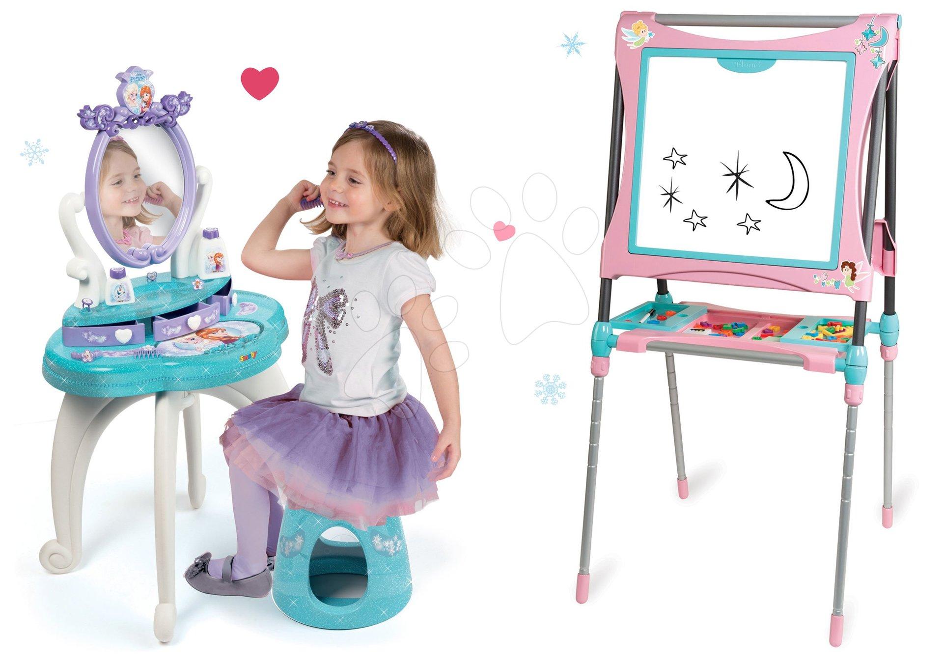 Set kozmetický stolík Frozen Smoby so stoličkou a magnetická obojstranná tabuľa polohovateľná