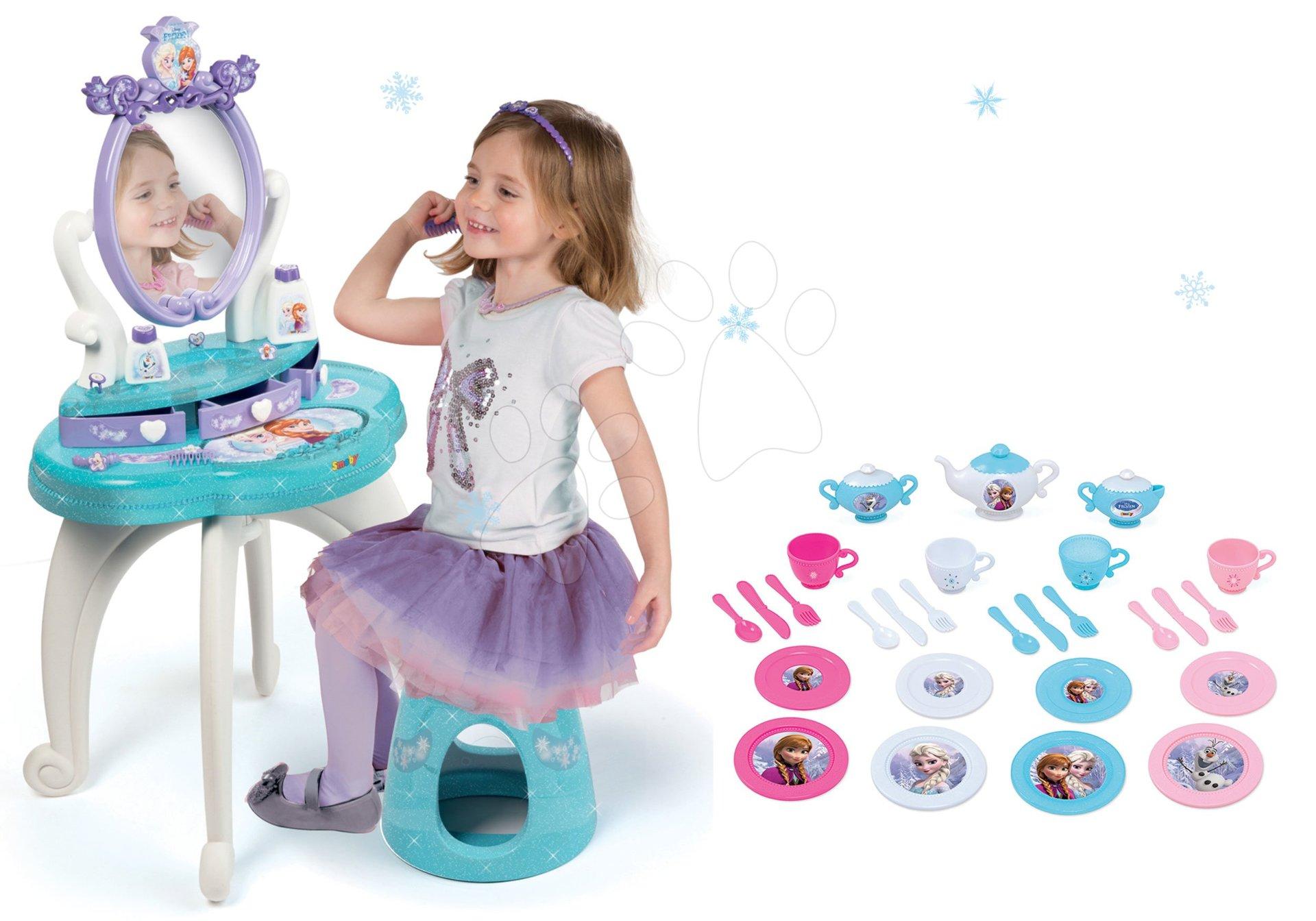 Komplet kozmetična miza Frozen Smoby s stolom in velik čajni servis Frozen