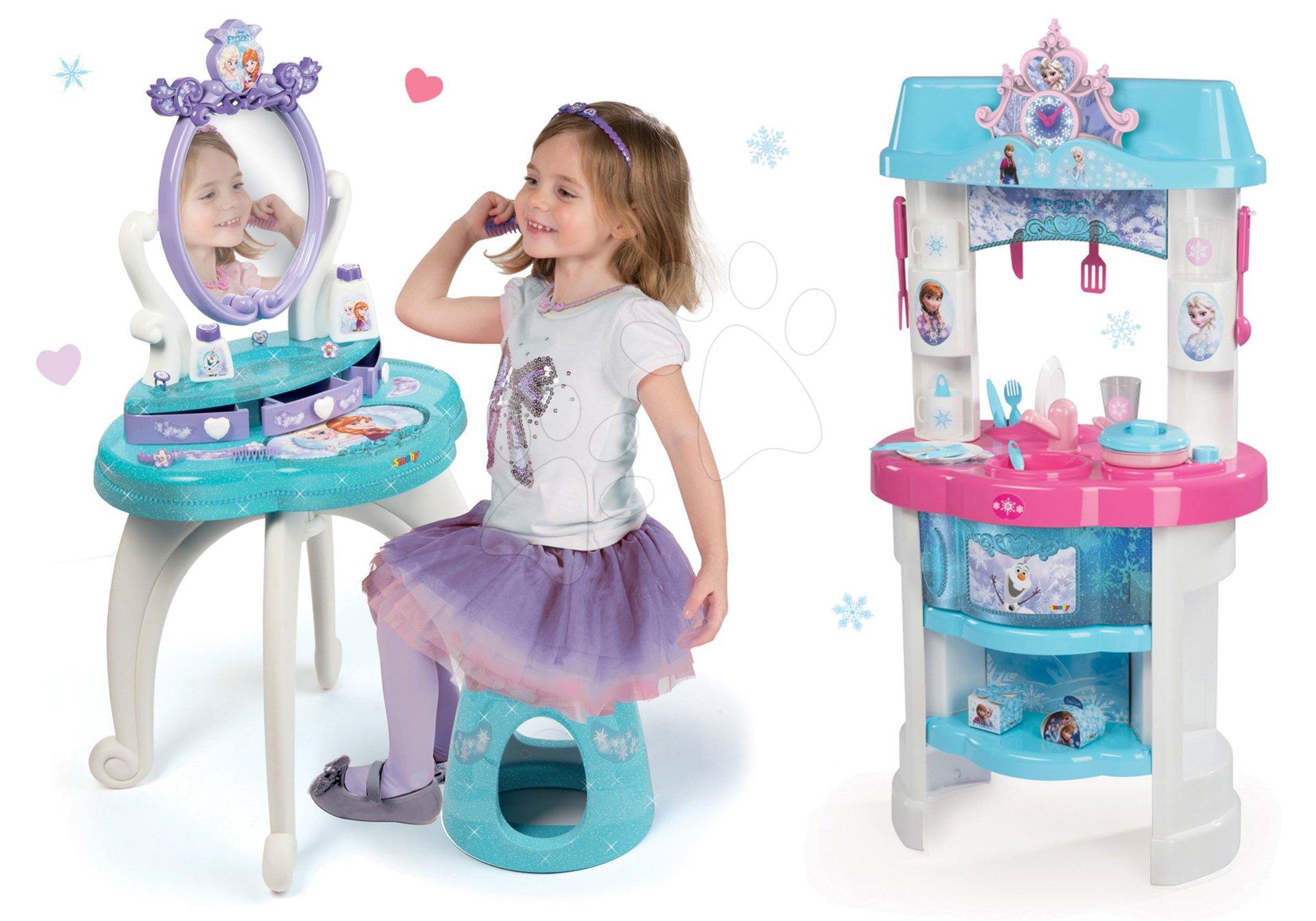 Set kozmetický stolík Frozen Smoby so stoličkou a kuchynka Frozen s trblietkami