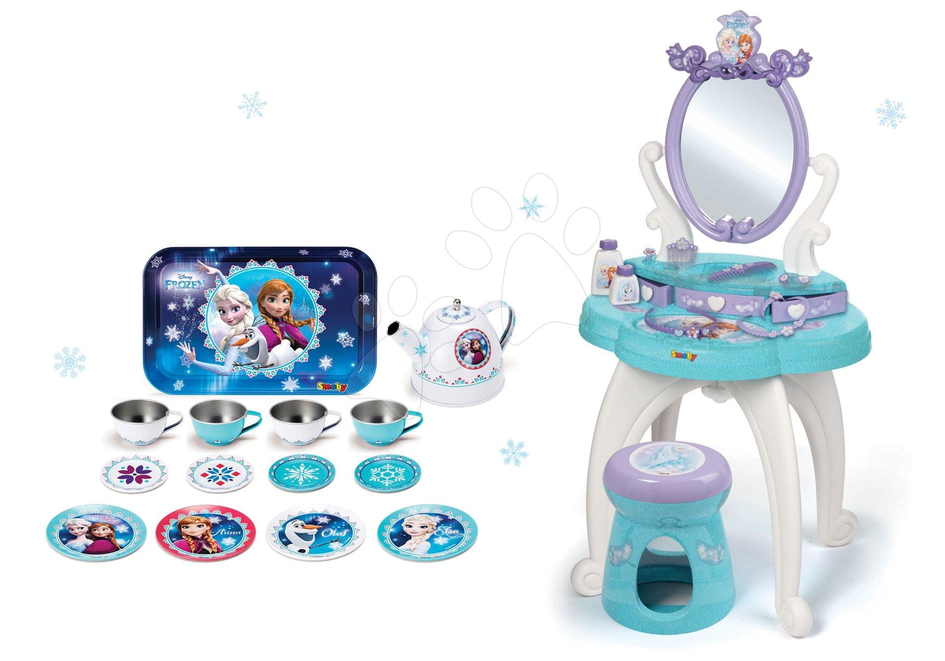 Set kozmetický stolík Frozen Smoby so stoličkou a plechová čajová súprava Frozen s čajníkom