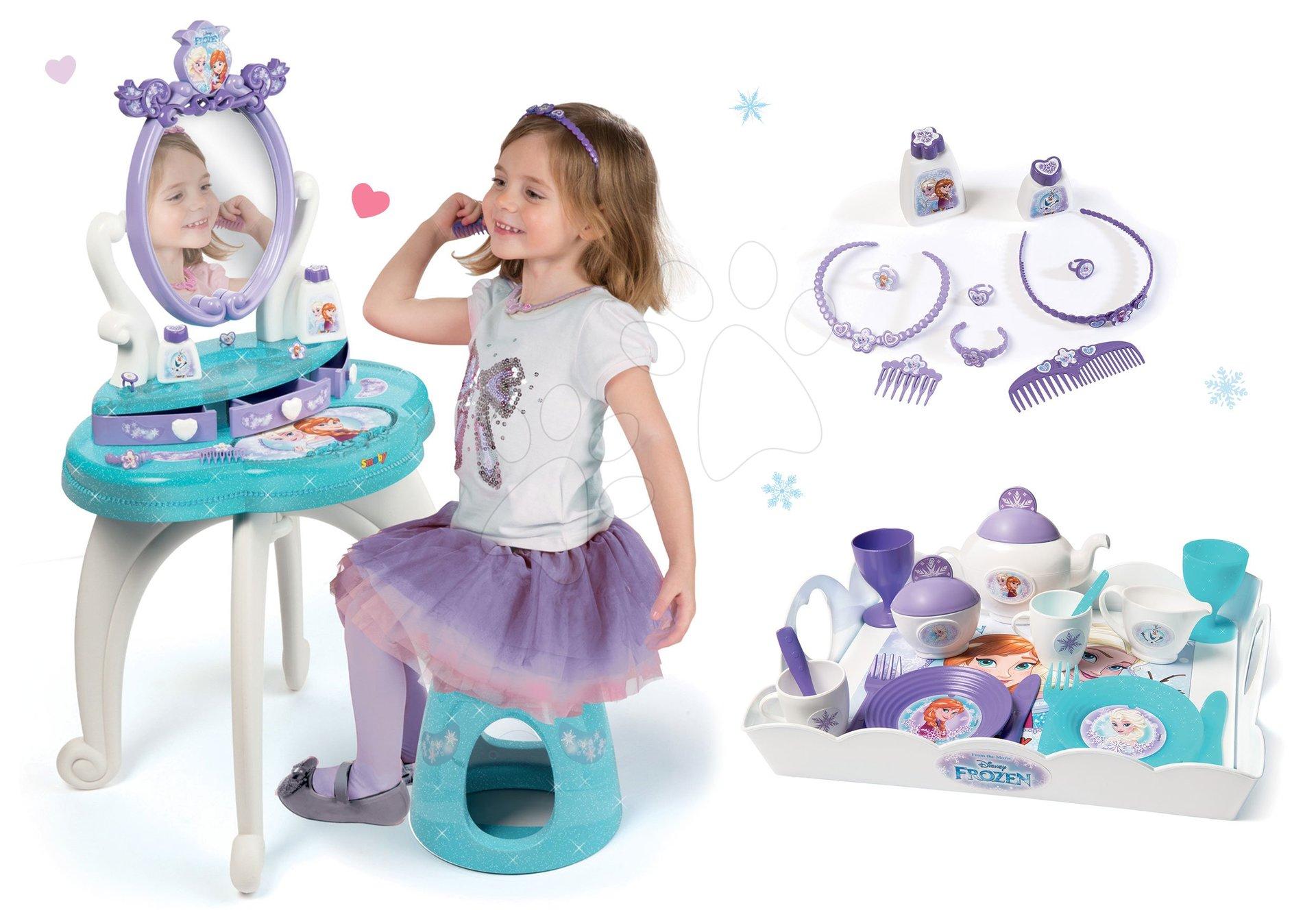 Komplet kozmetična miza Frozen Smoby s stolom in čajni servis s pladnjem Frozen
