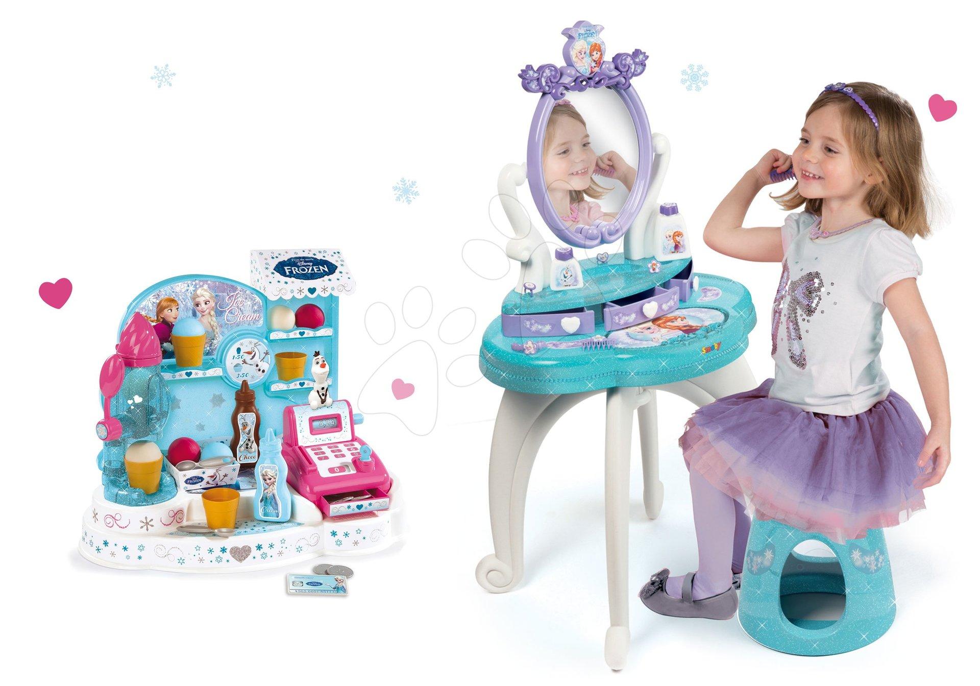 Komplet kozmetična miza Frozen Smoby s stolom in sladoledarna Frozen
