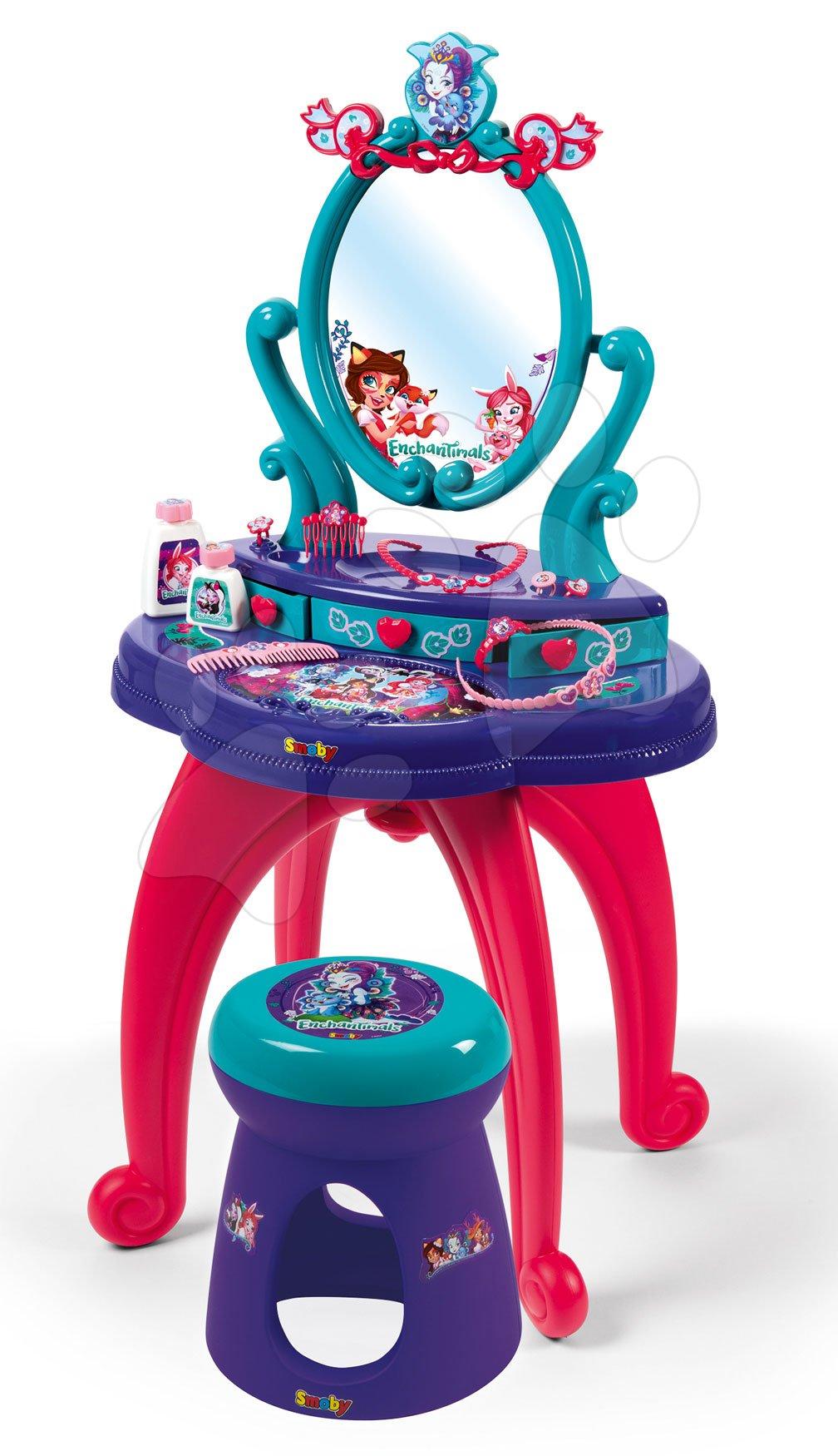 Kosmetický stolek pro děti - Kosmetický stolek Enchantimals 2v1 Smoby se židličkou a 10 doplňků