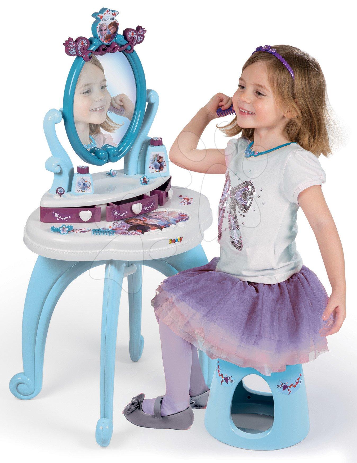 Kozmetična mizica Frozen 2 Disney 2v1 Smoby s stolčkom in 10 dodatki