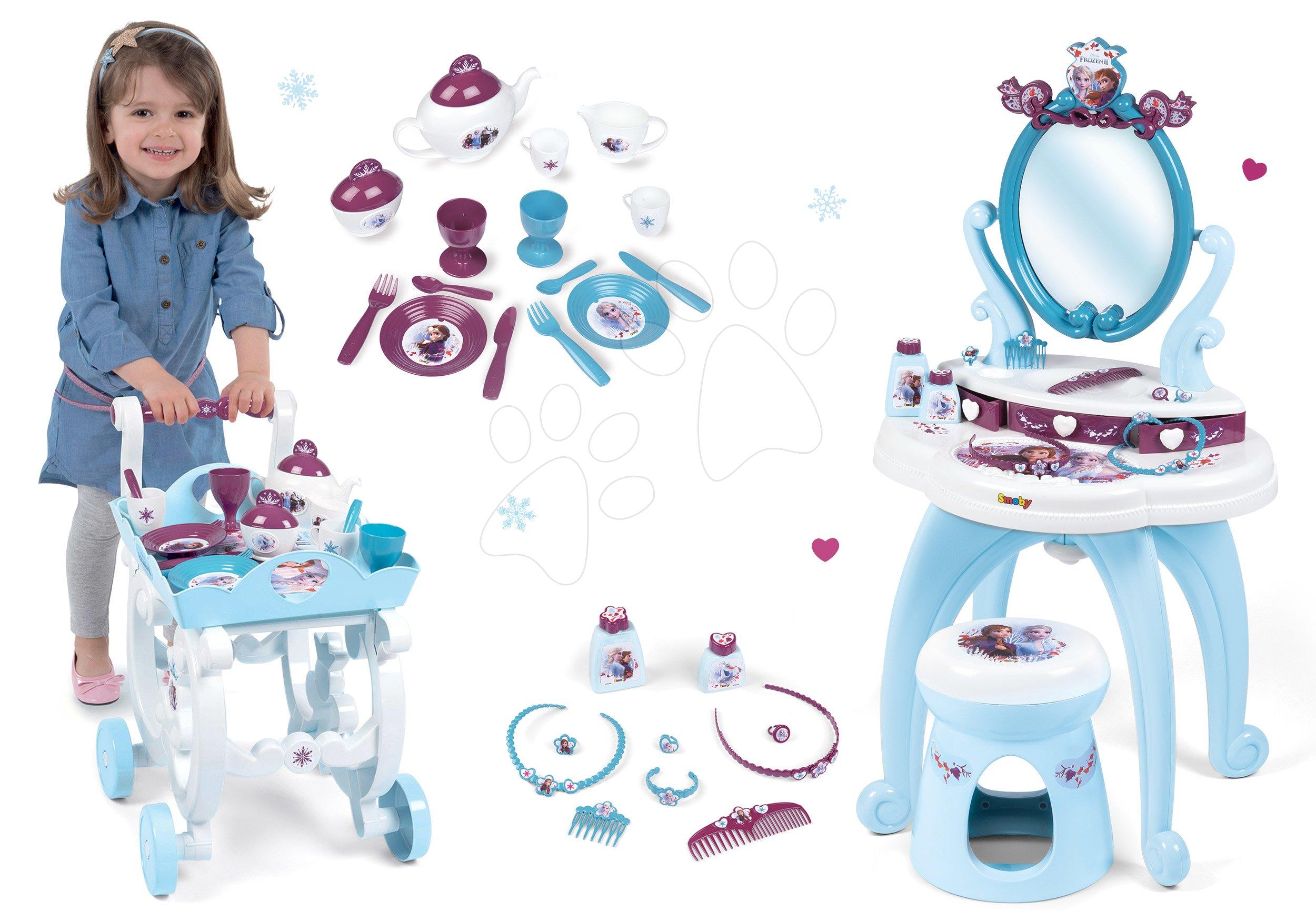 Set kosmetický stolek Frozen Smoby se židlí, čajová souprava Frozen na servírovacím vozíku