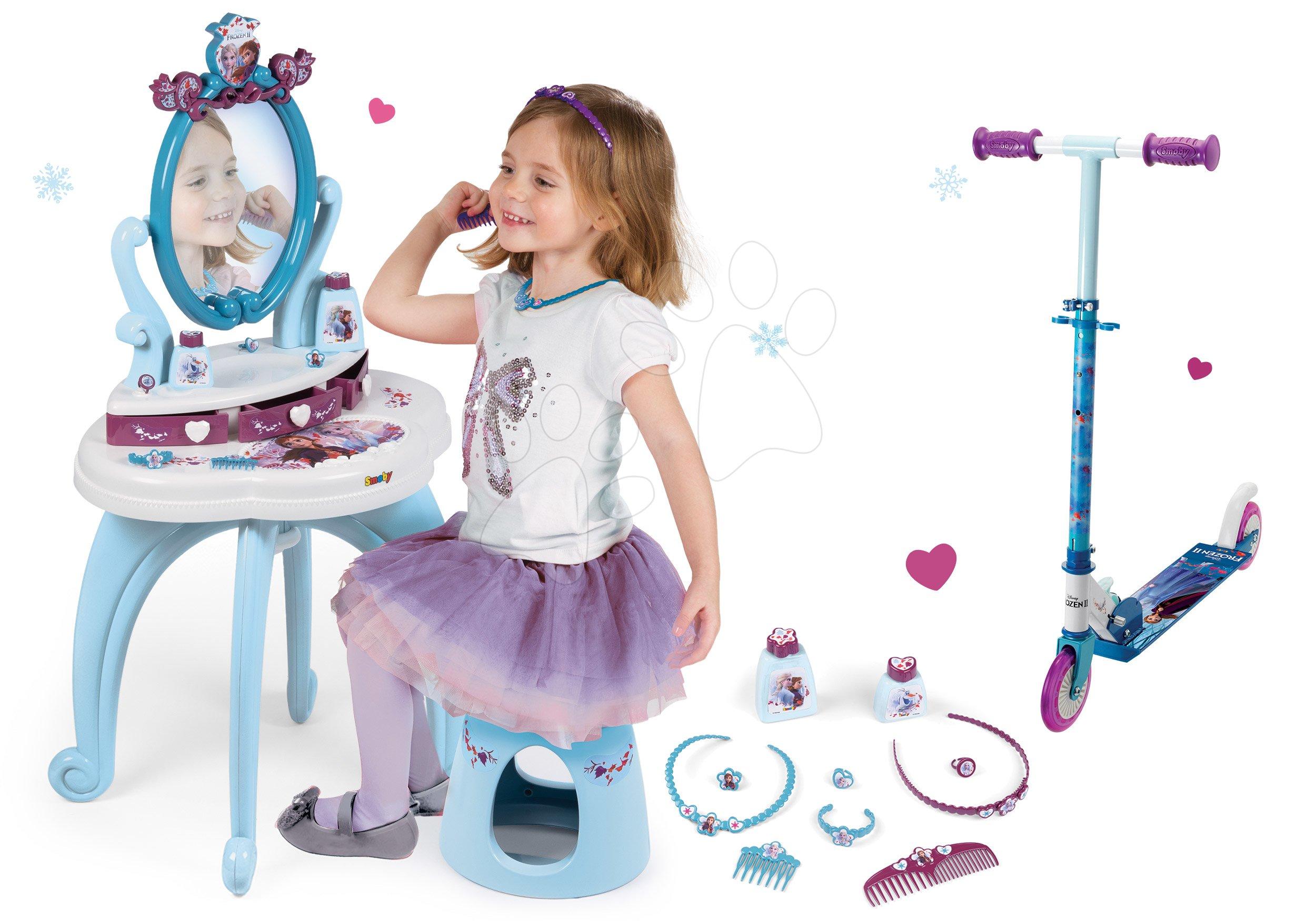 Kozmetické stolíky sety - Set kozmetický stolík Frozen Smoby so stoličkou a dvojkolesová kolobežka Frozen