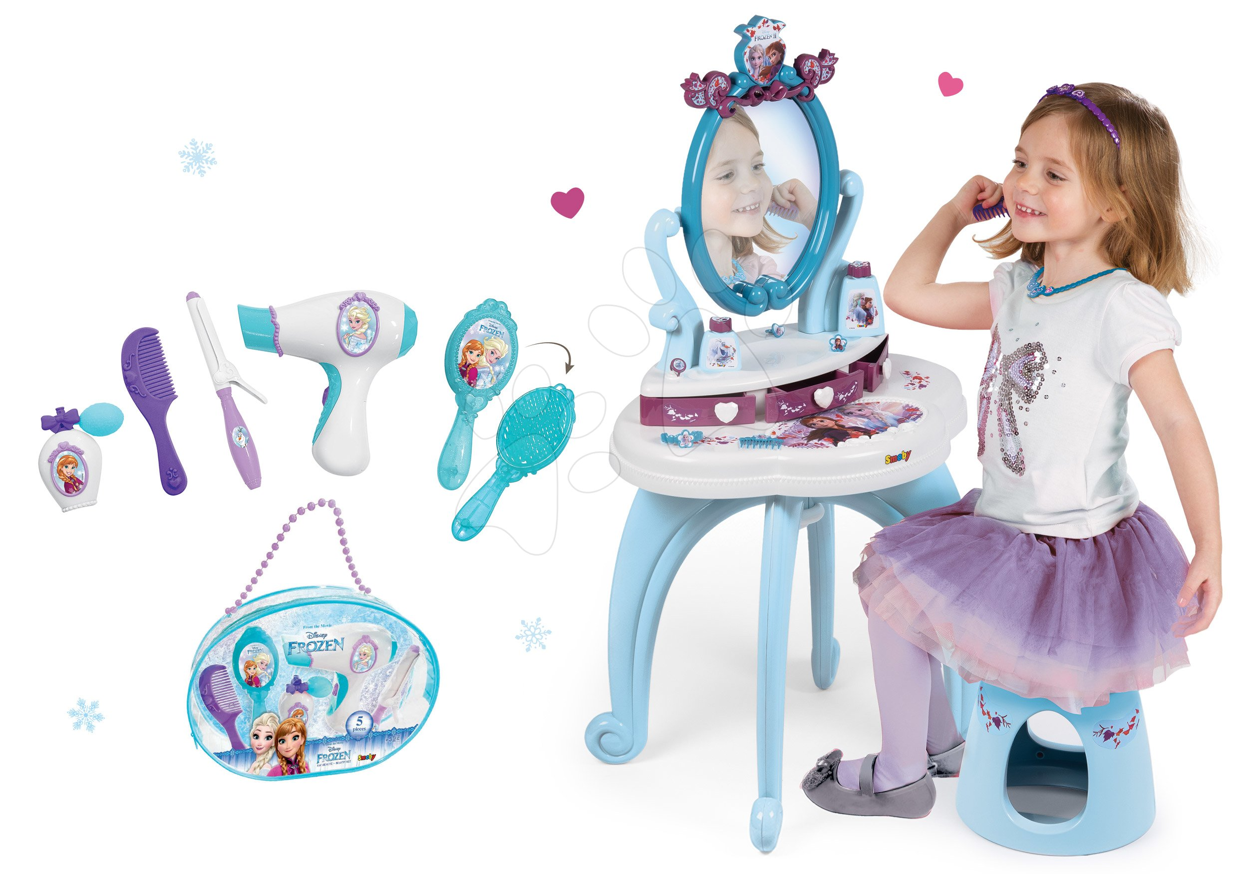 Set kosmetický stolek Frozen Smoby se židlí a kadeřnický set s vysoušečem vlasů Frozen