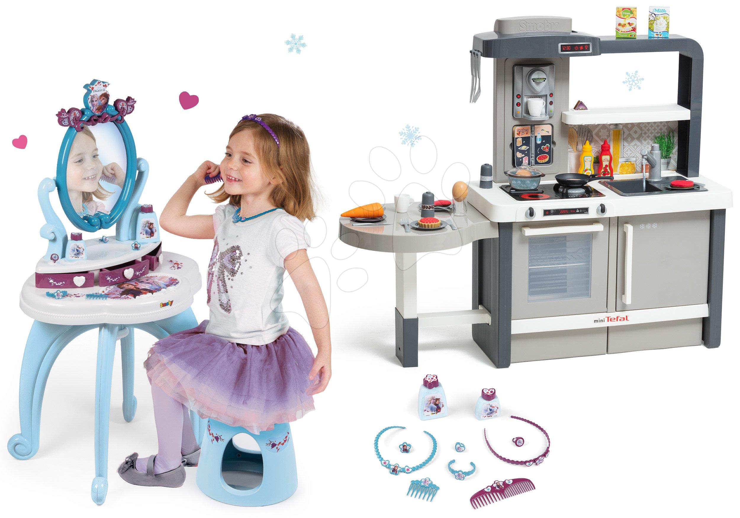 Kozmetické stolíky sety - Set kozmetický stolík so stoličkou 2v1 Frozen a kuchynka rastúca Tefal Evolutive s tečúcou vodou a magickým bublaním