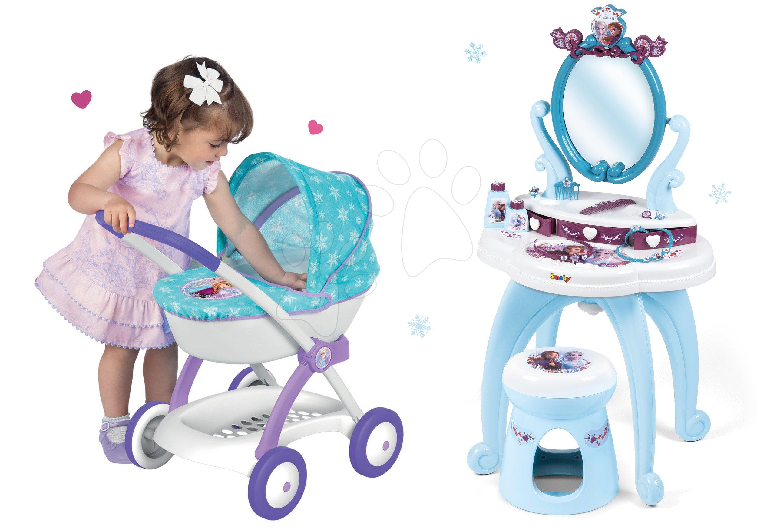 Komplet kozmetična miza Frozen Smoby s stolom in zložljiv voziček za dojenčka Frozen (58 cm ročaj)