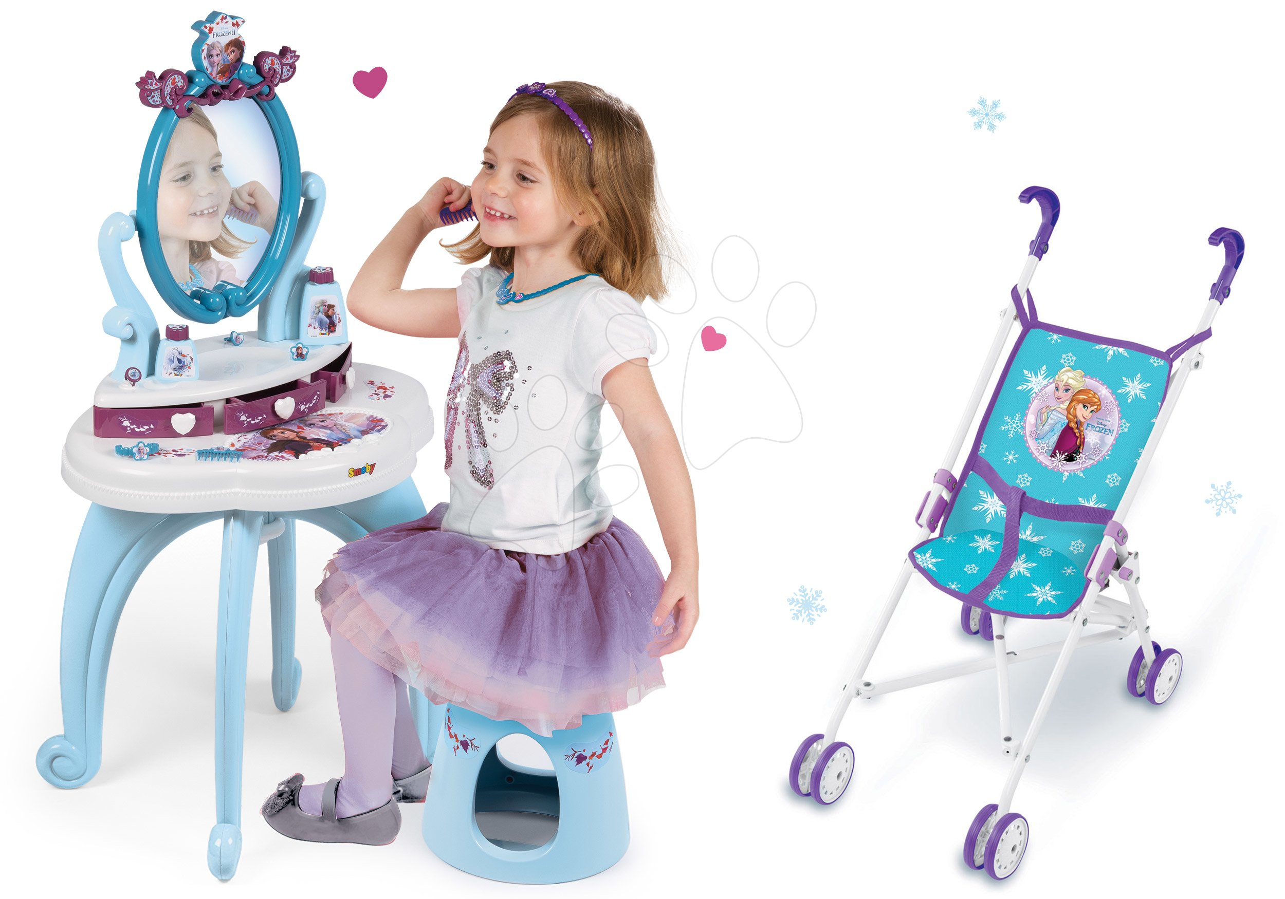 Set kosmetický stolek Frozen Smoby se židlí a skládací kočárek pro panenku Frozen