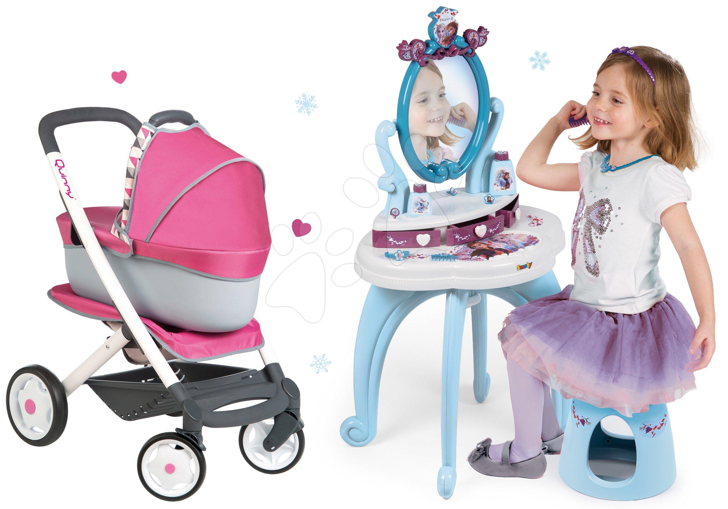 Set kosmetický stolek Frozen Smoby se židlí, kočárek pro panenku retro Maxi Cosi&Quinny 3v1