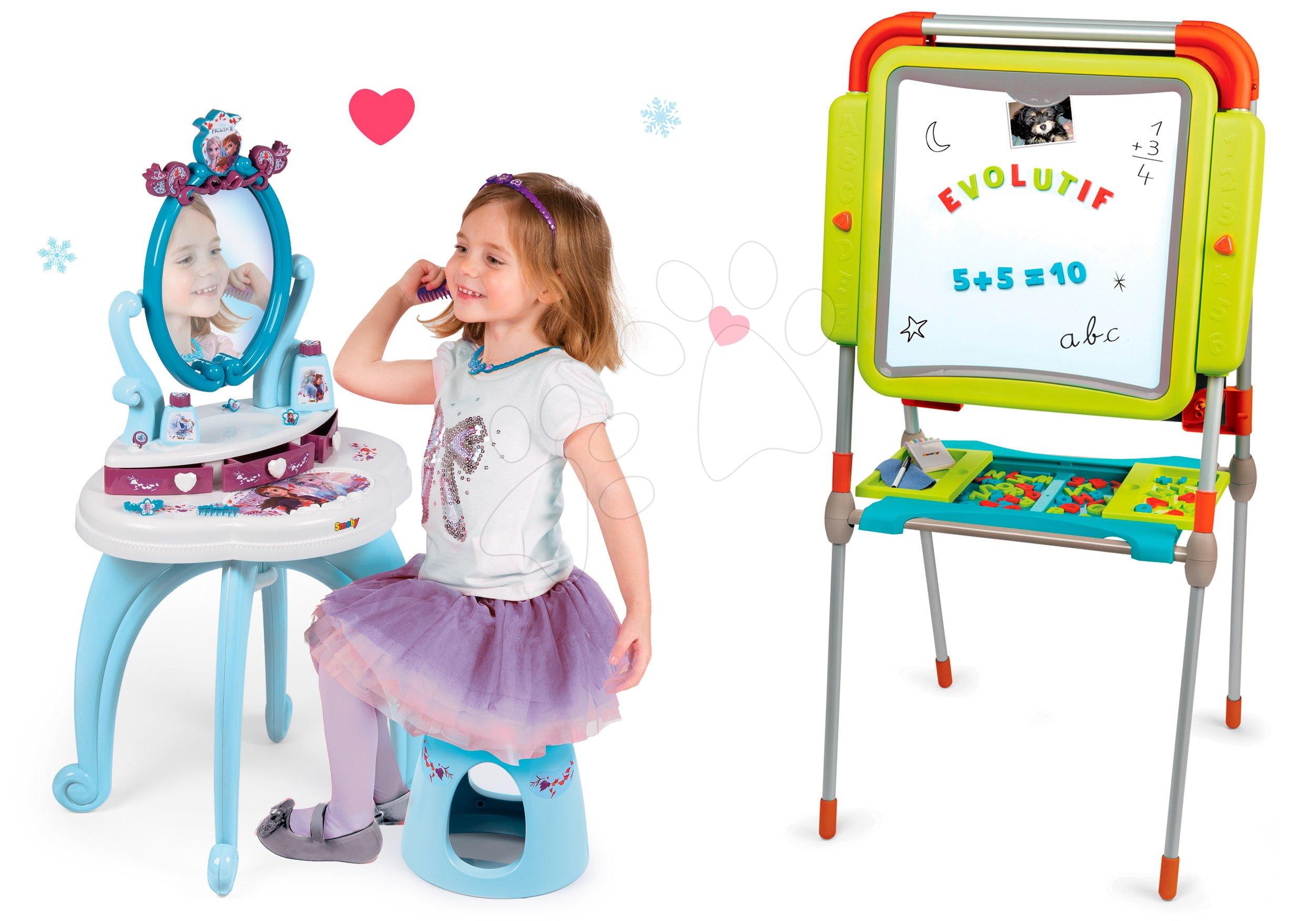 Kozmetické stolíky sety - Set kozmetický stolík Frozen Smoby so stoličkou a magnetická obojstranná tabuľa polohovateľná