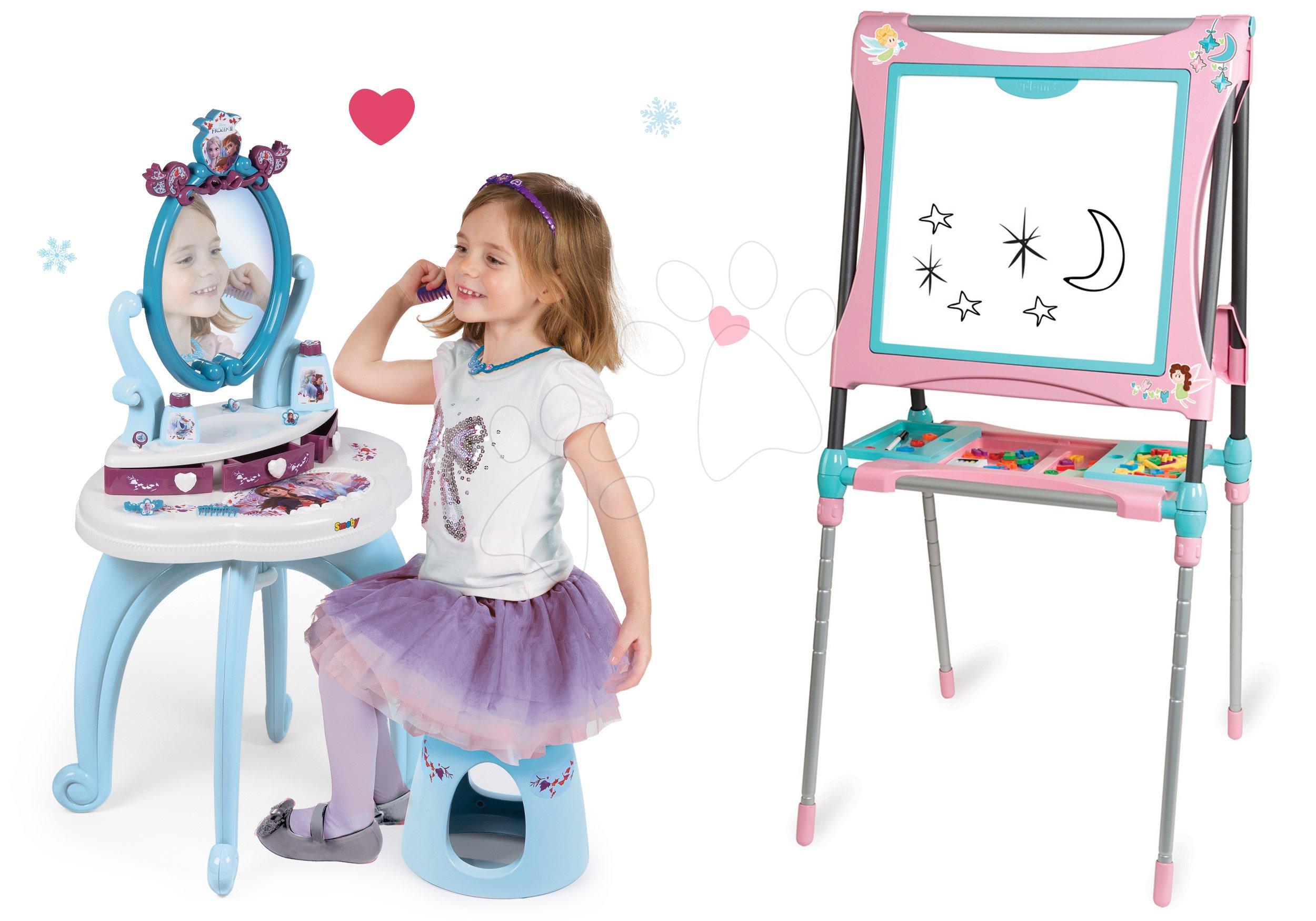 Komplet kozmetična miza Frozen Smoby s stolom in magnetna obojestranska pregibna tabla