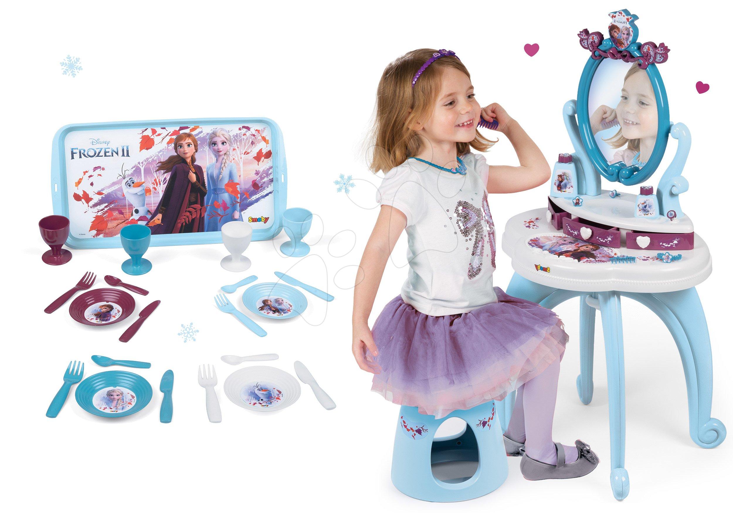Kozmetické stolíky sety - Set kozmetický stolík Frozen Smoby so stoličkou a veľká čajová súprava Frozen