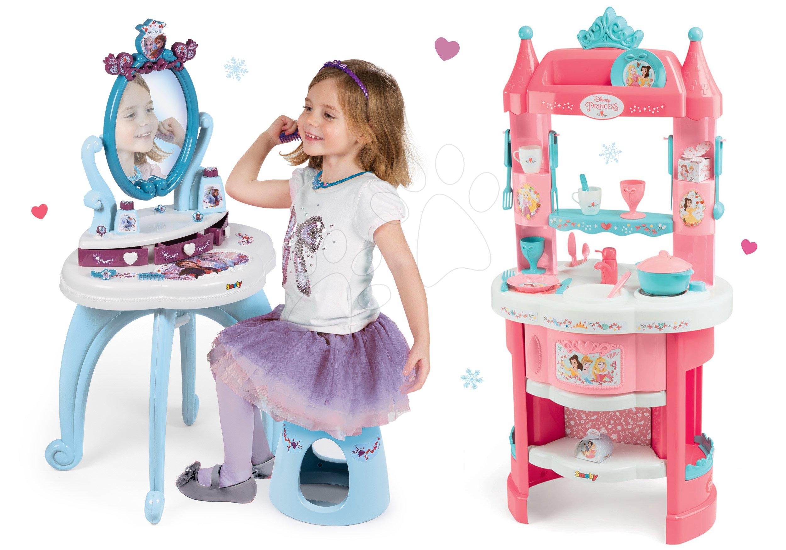 Kozmetické stolíky sety - Set kozmetický stolík Frozen Smoby so stoličkou a kuchynka Frozen s trblietkami