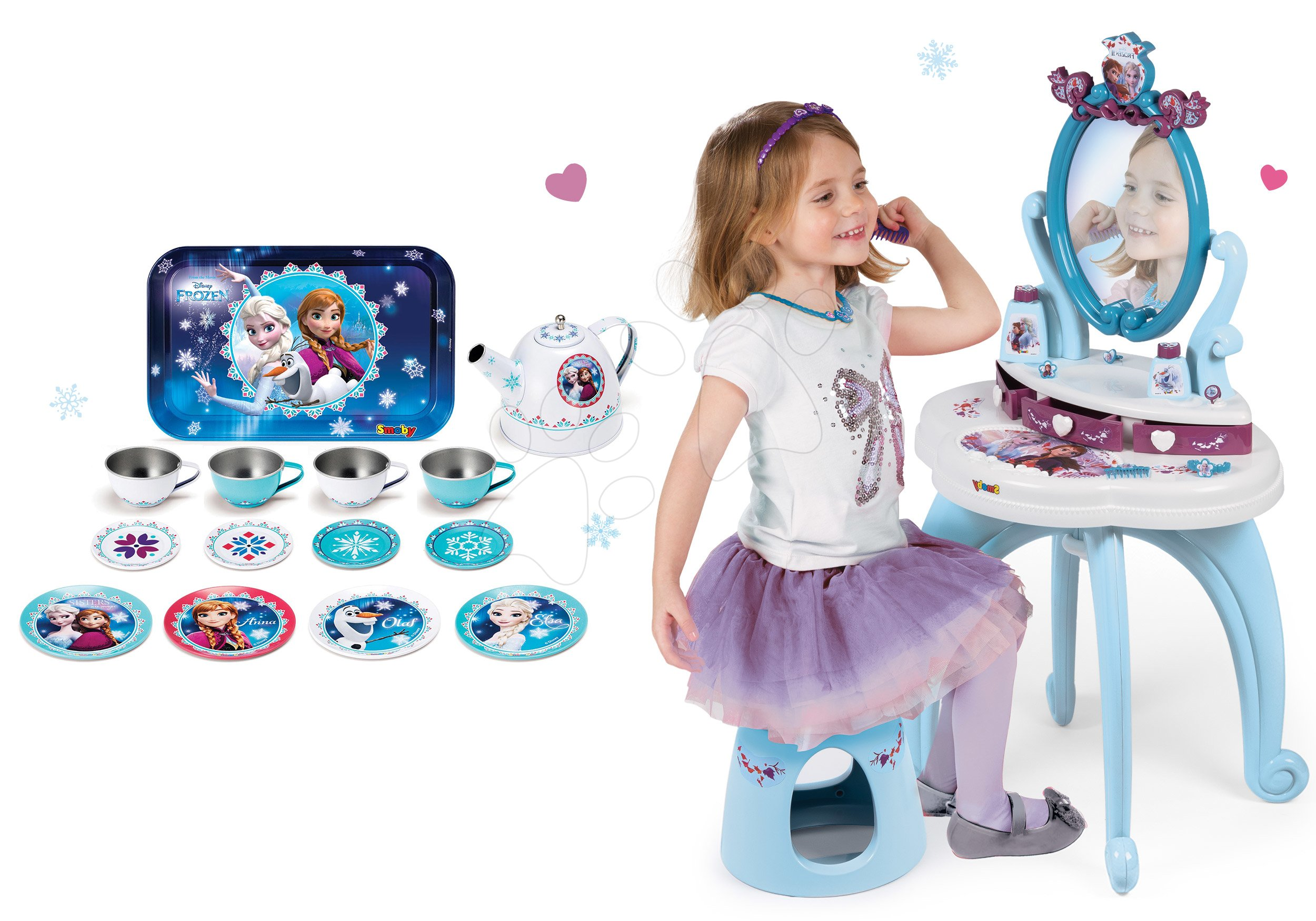 Smoby detský kozmetický stolík a plechová súprava na čaj Frozen 320214-4