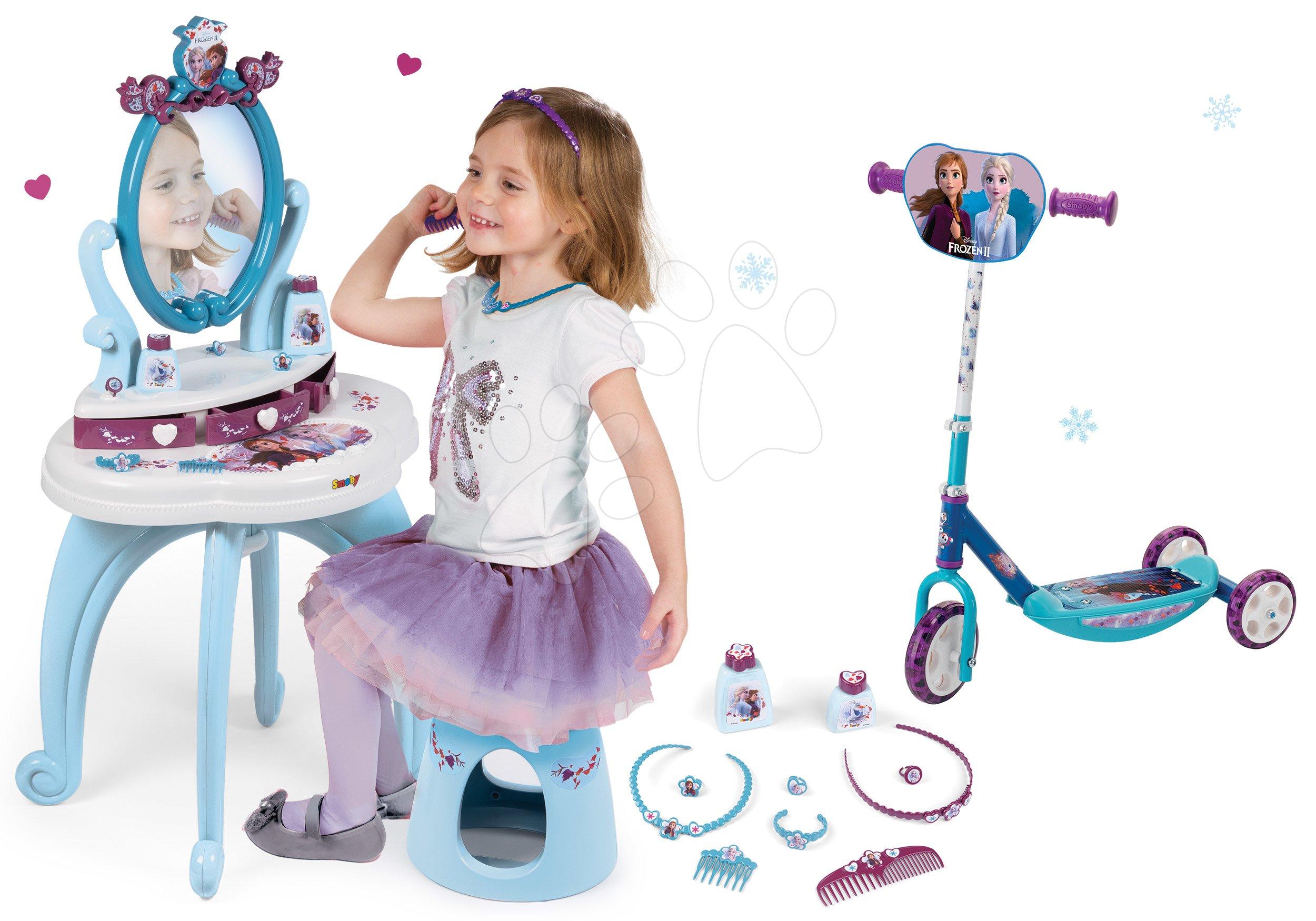 Set kosmetický stolek Frozen Smoby se židlí a tříkolová koloběžka Frozen