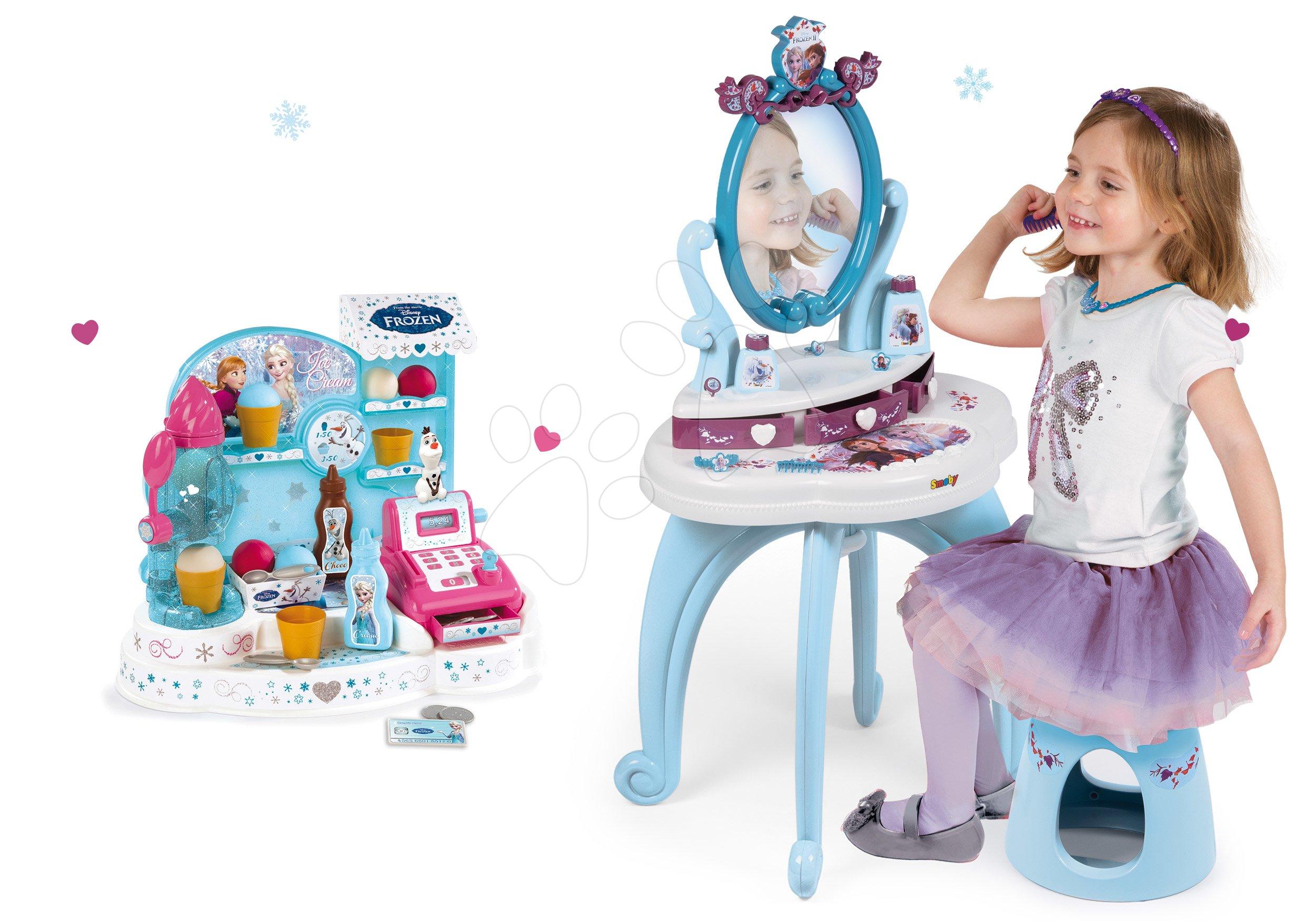 Kozmetické stolíky sety - Set kozmetický stolík Frozen Smoby so stoličkou a zmrzlináreň Frozen