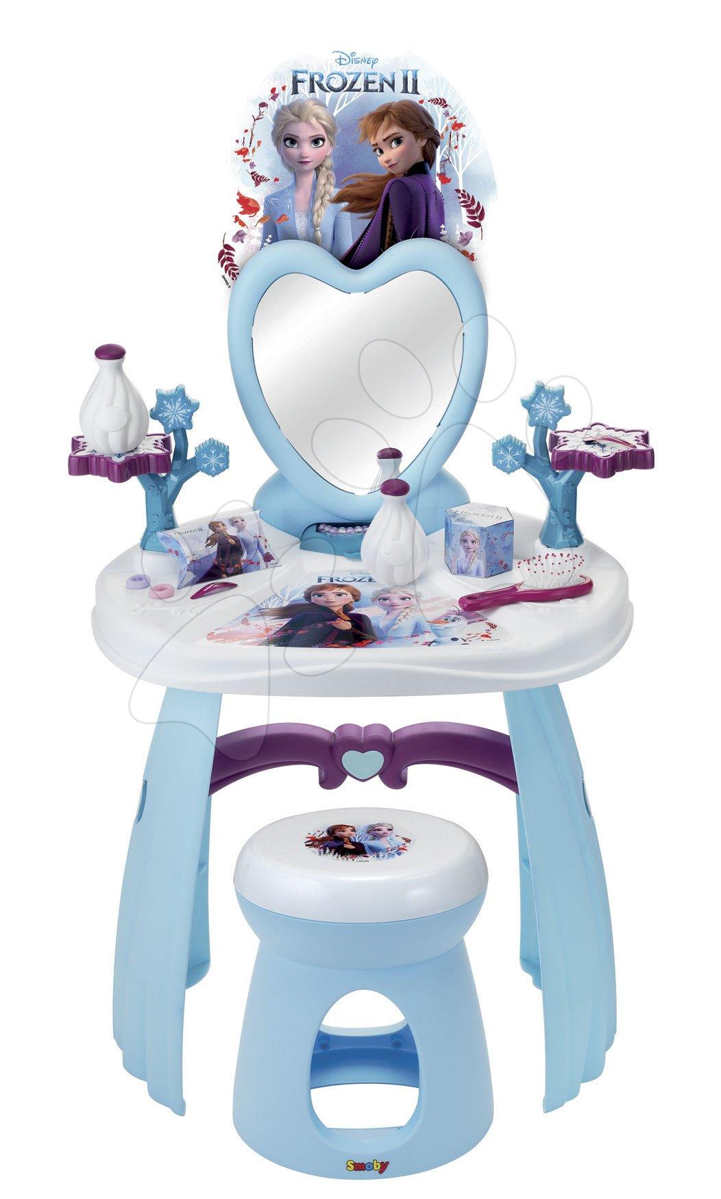 Kosmetický stolek pro děti - Kosmetický stolek se židličkou Frozen Smoby se srdíčkovým zrcadlem a 10 doplňky