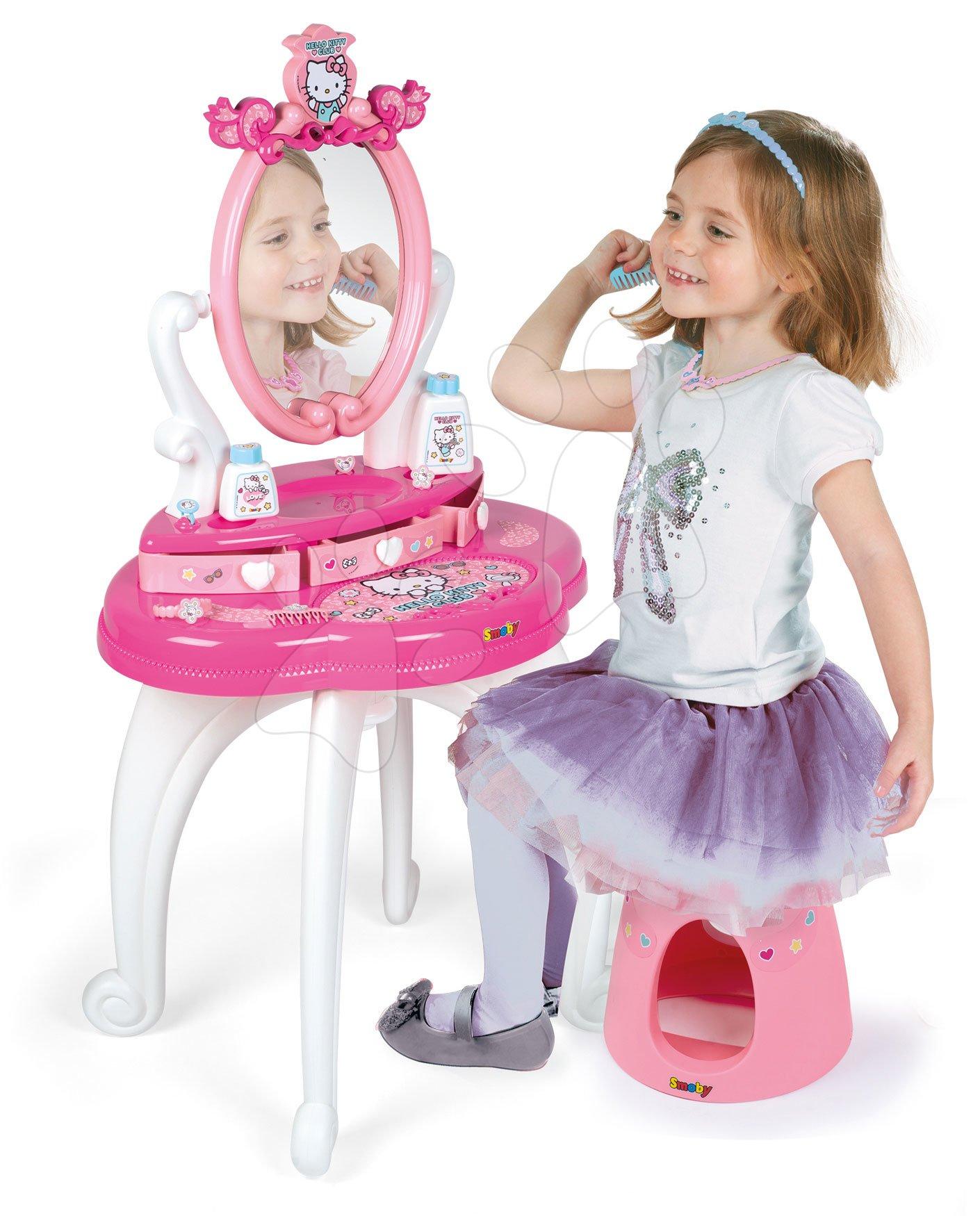 Kozmetična mizica za otroke - Kozmetična mizica s stolčkom Hello Kitty Smoby in 10 dodatkov
