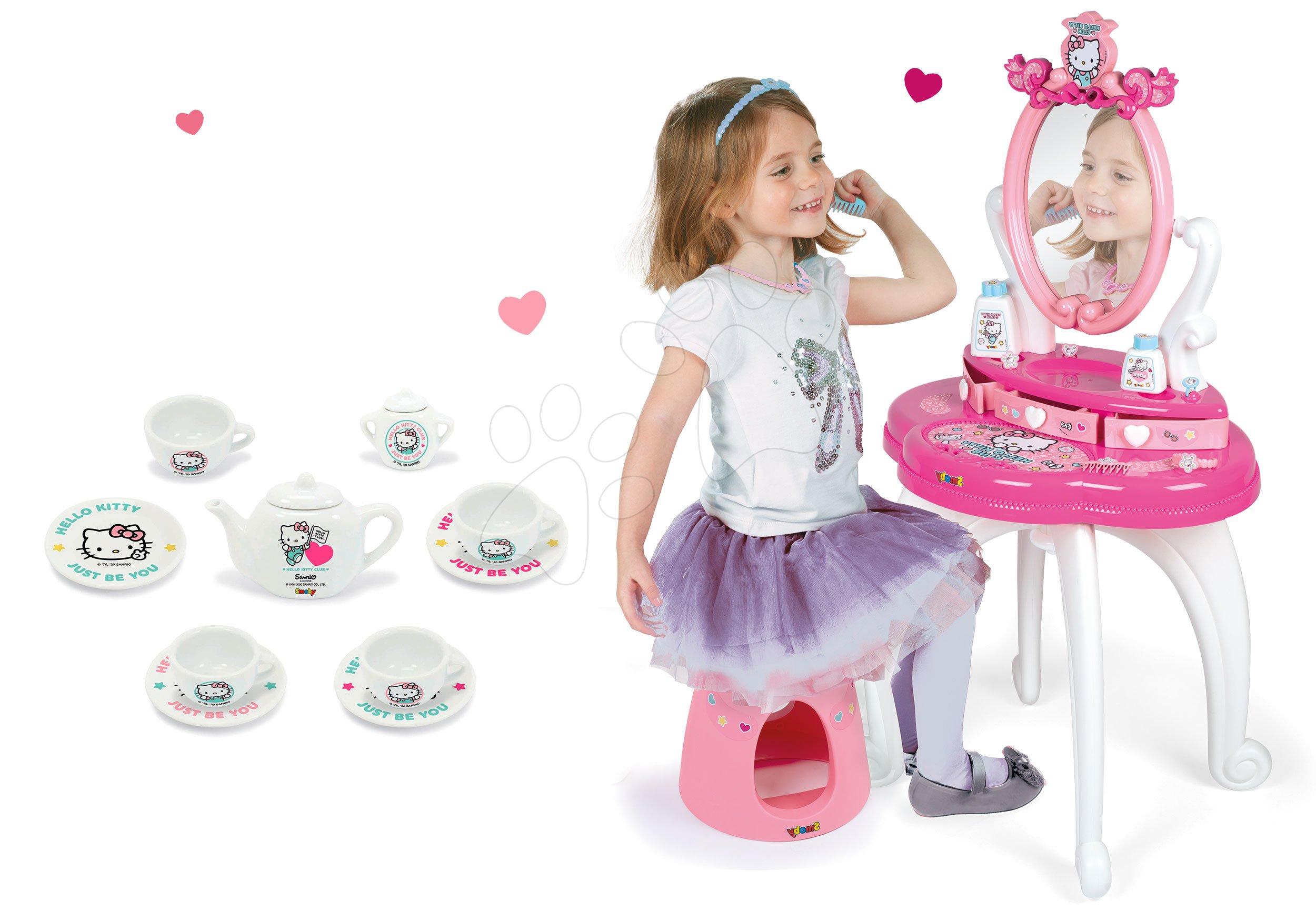 Kozmetične mizice kompleti - Komplet kozmetična mizica s stolčkom Hello Kitty Smoby s porcelanastim čajnom setom