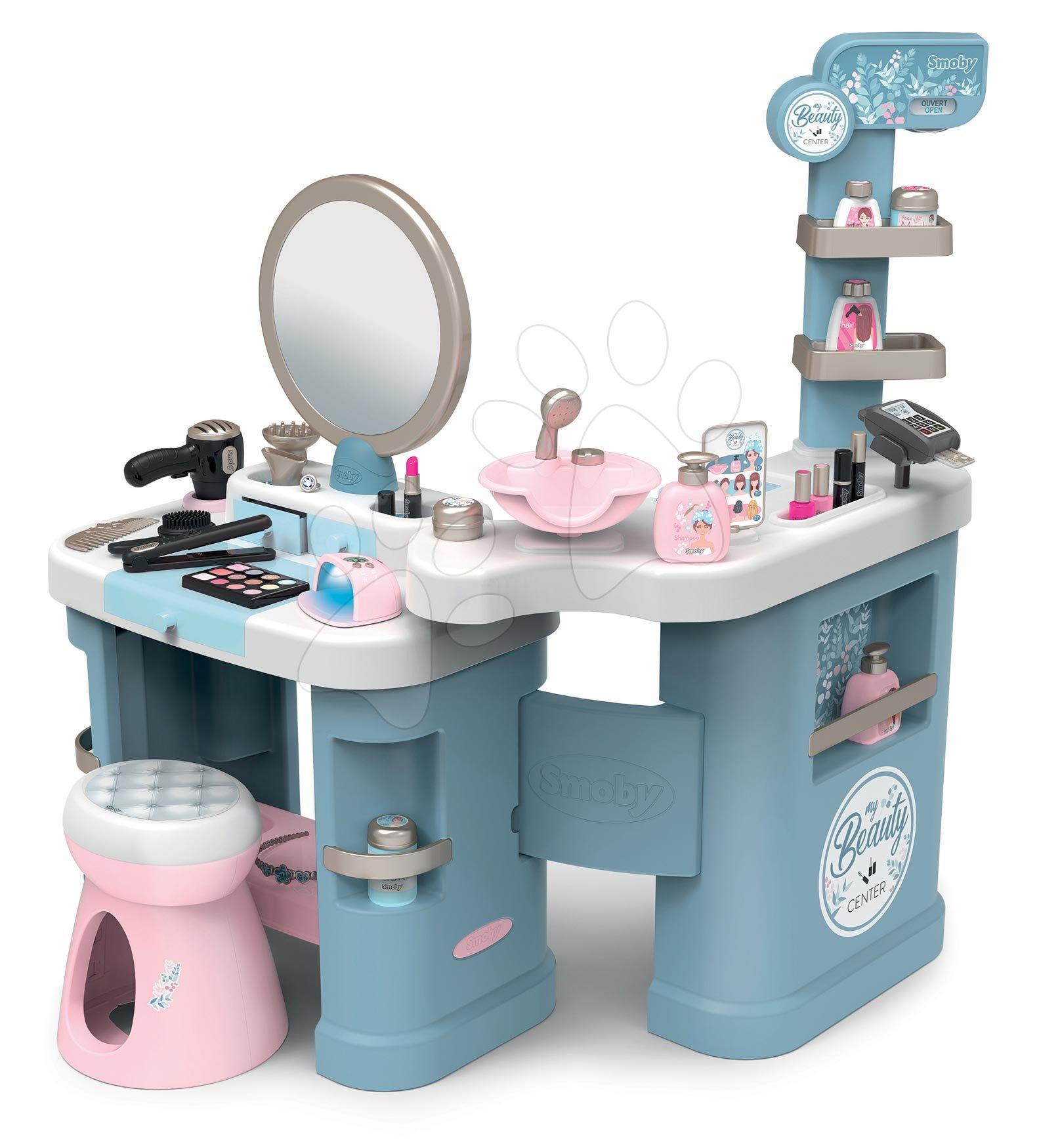Kozmetična mizica za otroke - Kozmetična mizica elektronska My Beauty Center 3in1 Smoby frizerstvo in kozmetični salon z manikiro ter 32 dodatkov