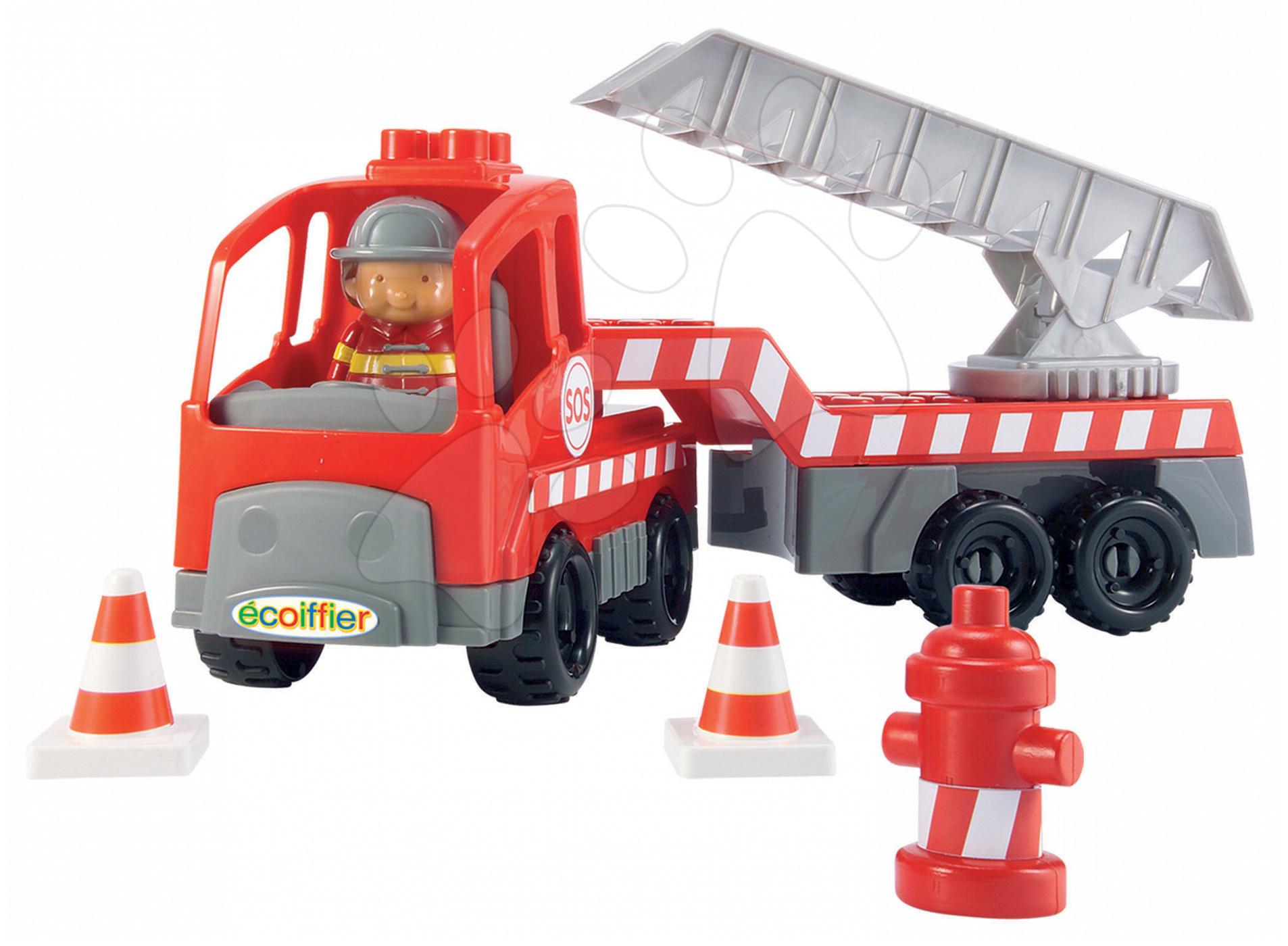 Stavebnice Abrick – požární kamion s jeřábem Écoiffier 18 dílů od 18 měsíců