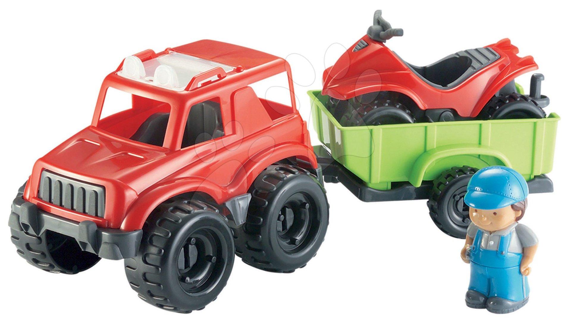 Otroške kocke Abrick - Kocke Abrick – terenski avto s prikolico in štirikolesnikom Écoiffier 20 delov od 18 mes