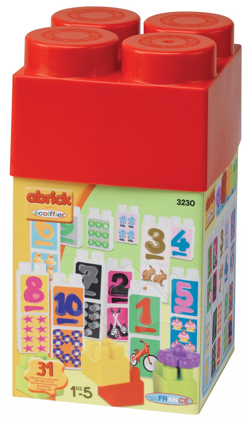 Stavebnica Abrick - kocky s číslami Écoiffier 31 dielov od 18 mes