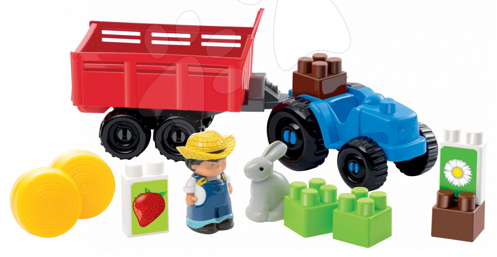 Stavebnice Abrick - Stavebnica Traktor s vlečkou, farmárom a zajačikom Abrick Écoiffier 22 dielov od 18 mes