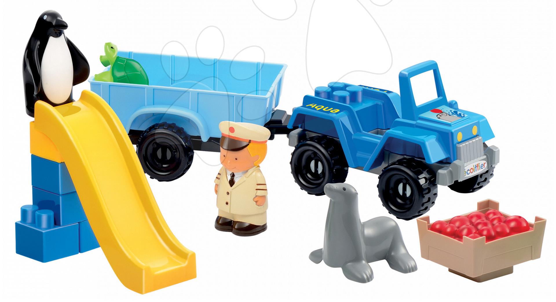 Stavebnice Abrick - aquapark s autem a skluzavkou Écoiffier s 2 figurkami 23 dílů od 18 měsíců