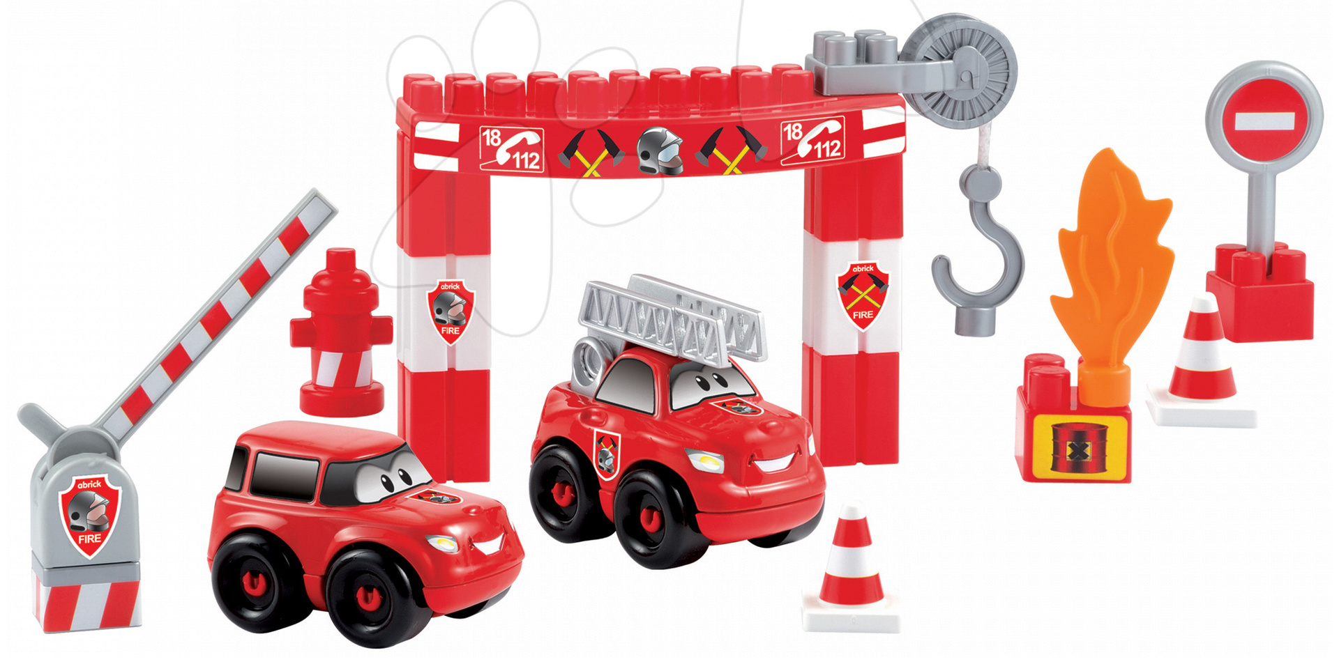 Stavebnice Abrick - požární stanice Écoiffier s 2 auty 35 dílů od 18 měsíců