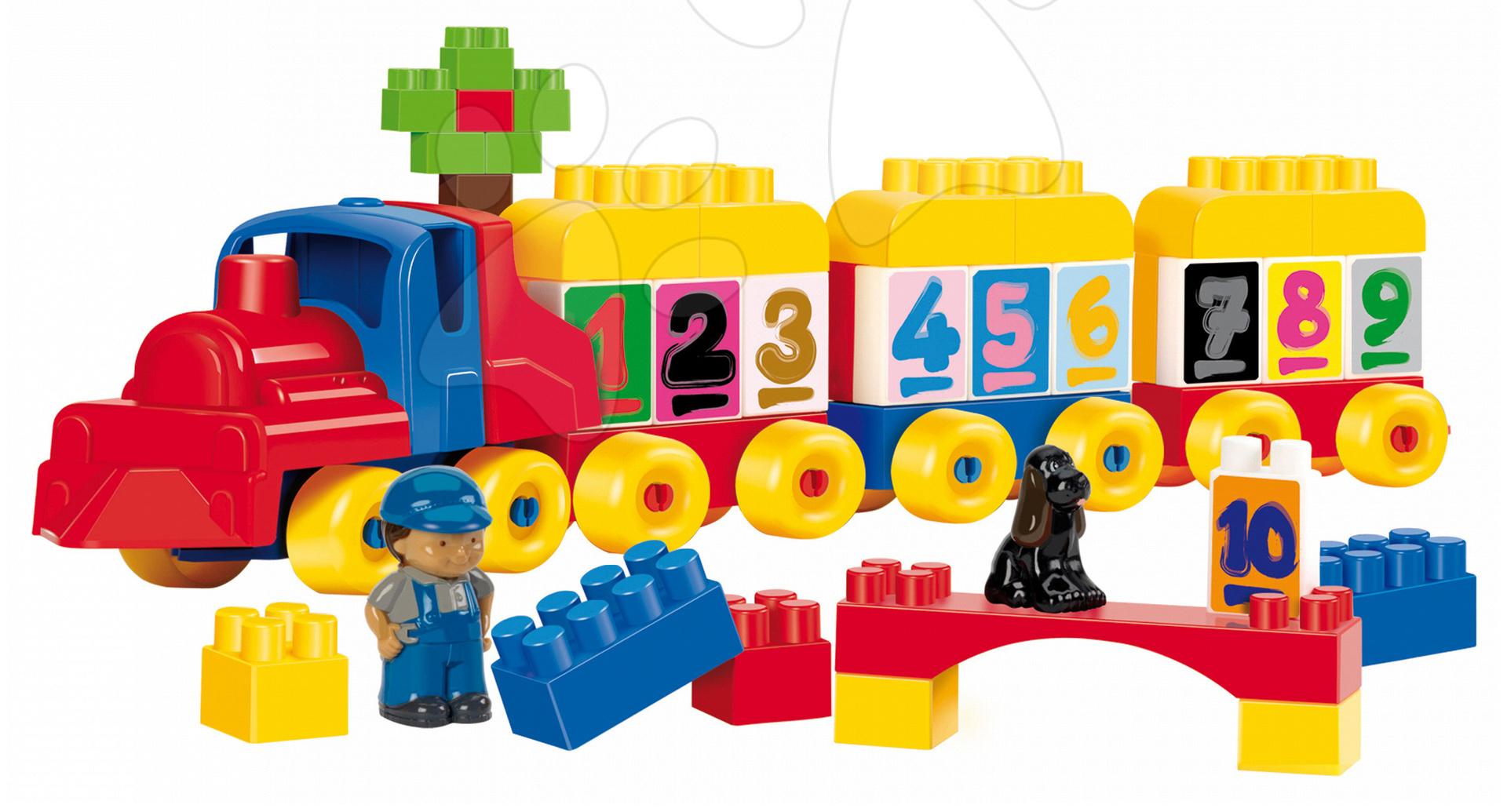 Stavebnice Abrick - Stavebnica Vláčik s vozňami a kockami Abrick Écoiffier s IML potlačou 65 dielov od 18 mes
