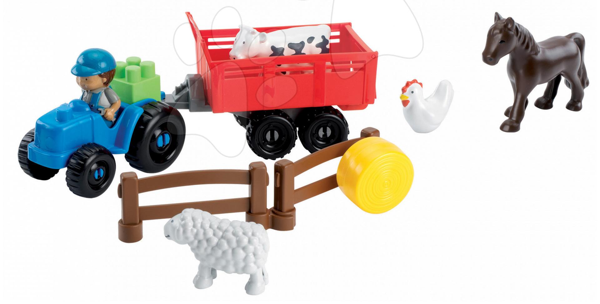 Stavebnice Abrick - Stavebnica traktor s vlečkou a zvieratkami Abrick Écoiffier 25 dielov od 18 mes