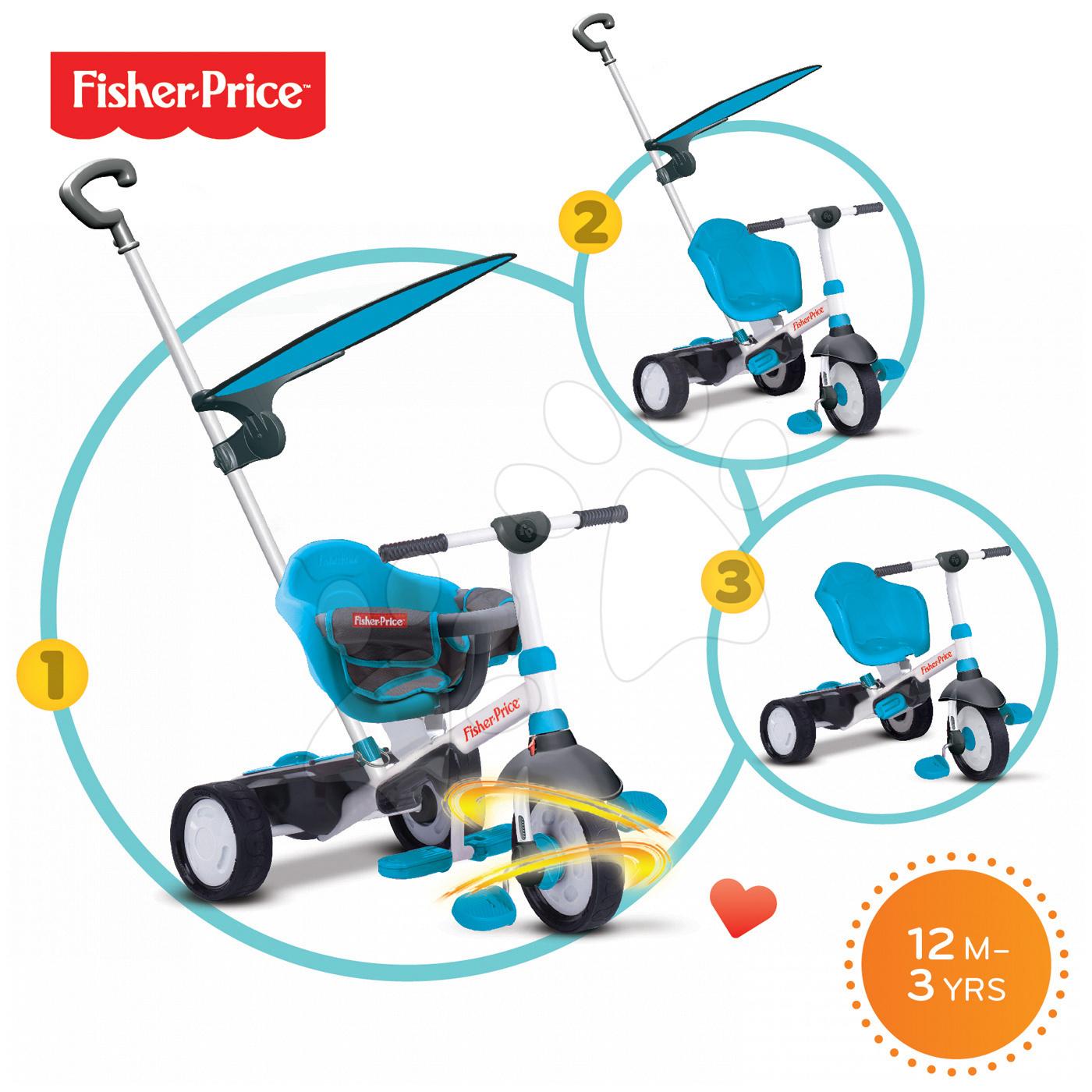 Trojkolky od 10 mesiacov - Trojkolka Fisher-Price Charm Plus Touch Steering smarTrike modrá od 12 mes
