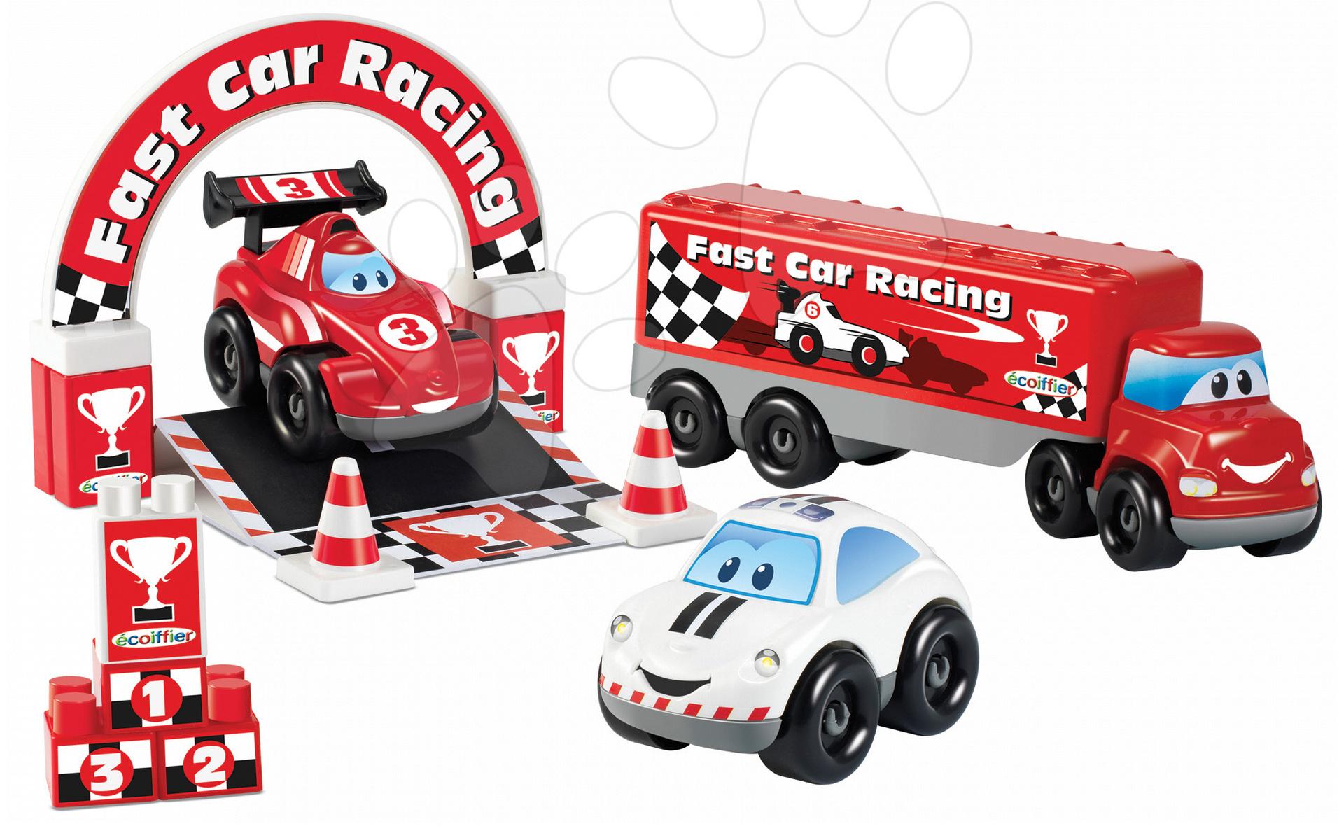 Stavebnice Abrick - Stavebnica Rýchle autá - Formula 1 Abrick Écoiffier kamión s autami od 18 mes