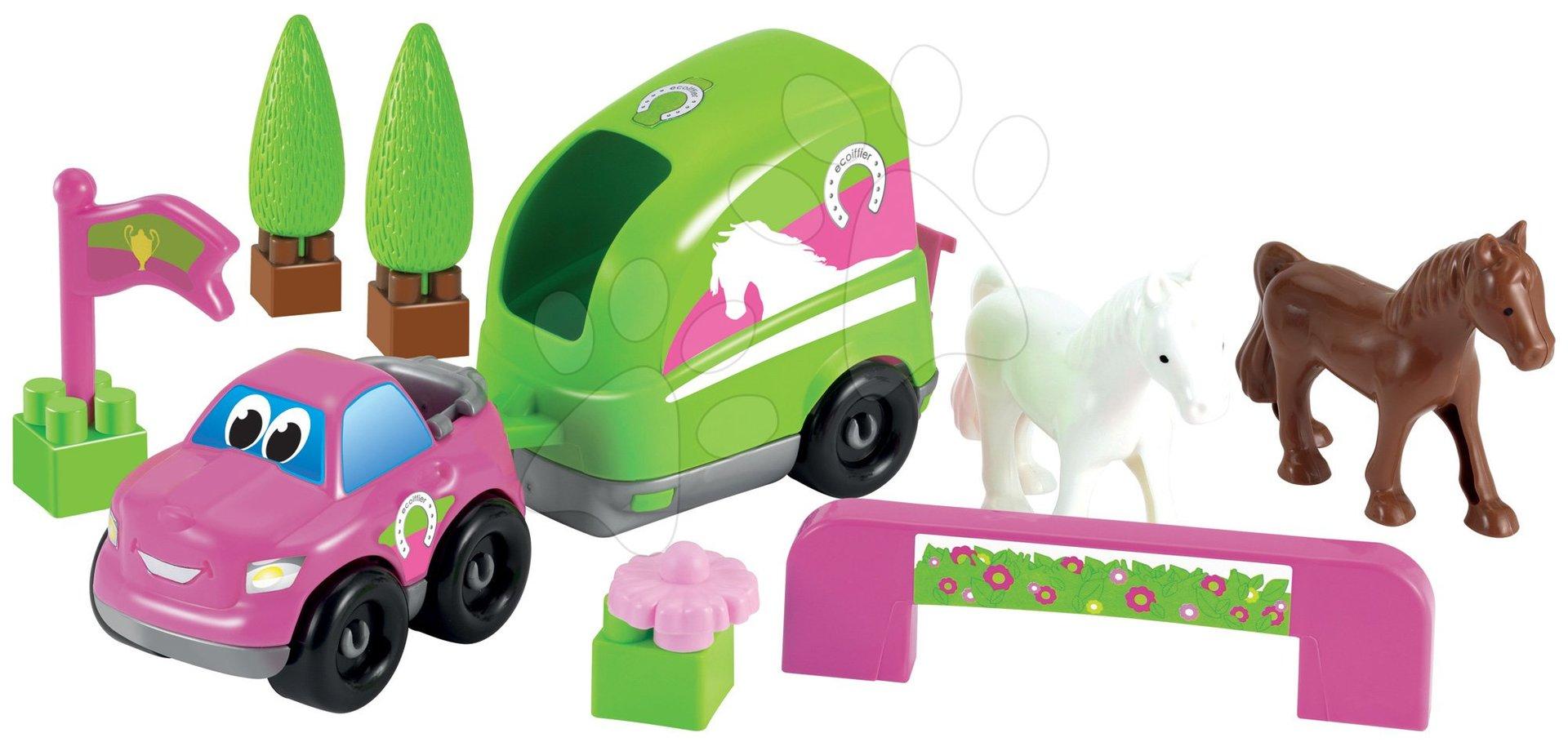 Stavebnice - autíčko s koníčky Abrick Écoiffier růžovo-zelená od 18 měsíců