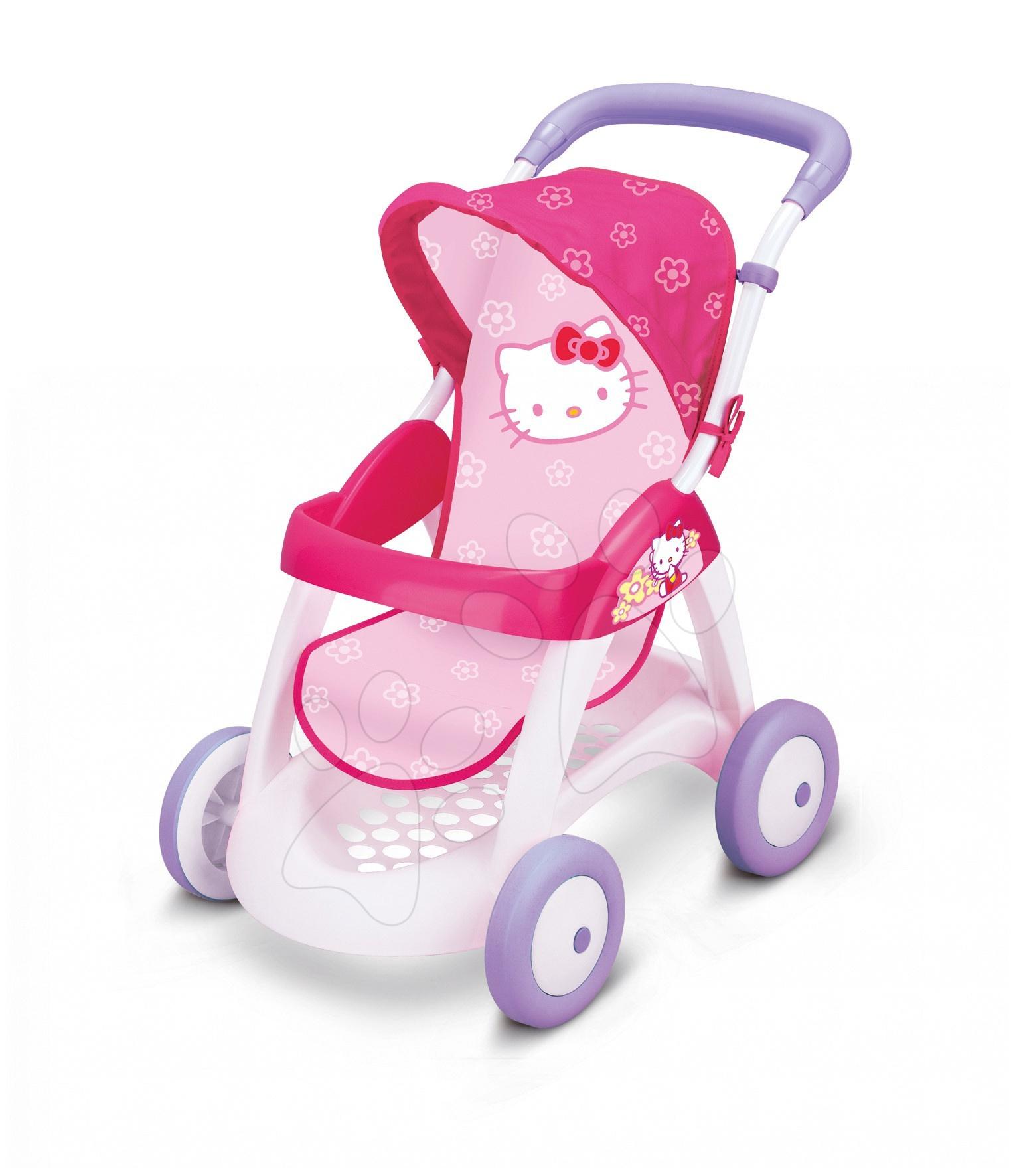 Produse vechi - Cărucior Hello Kitty Chuli Pop Smoby roz cu mâner de împins de 58 de cm 60*38*55 cm de la 18 luni