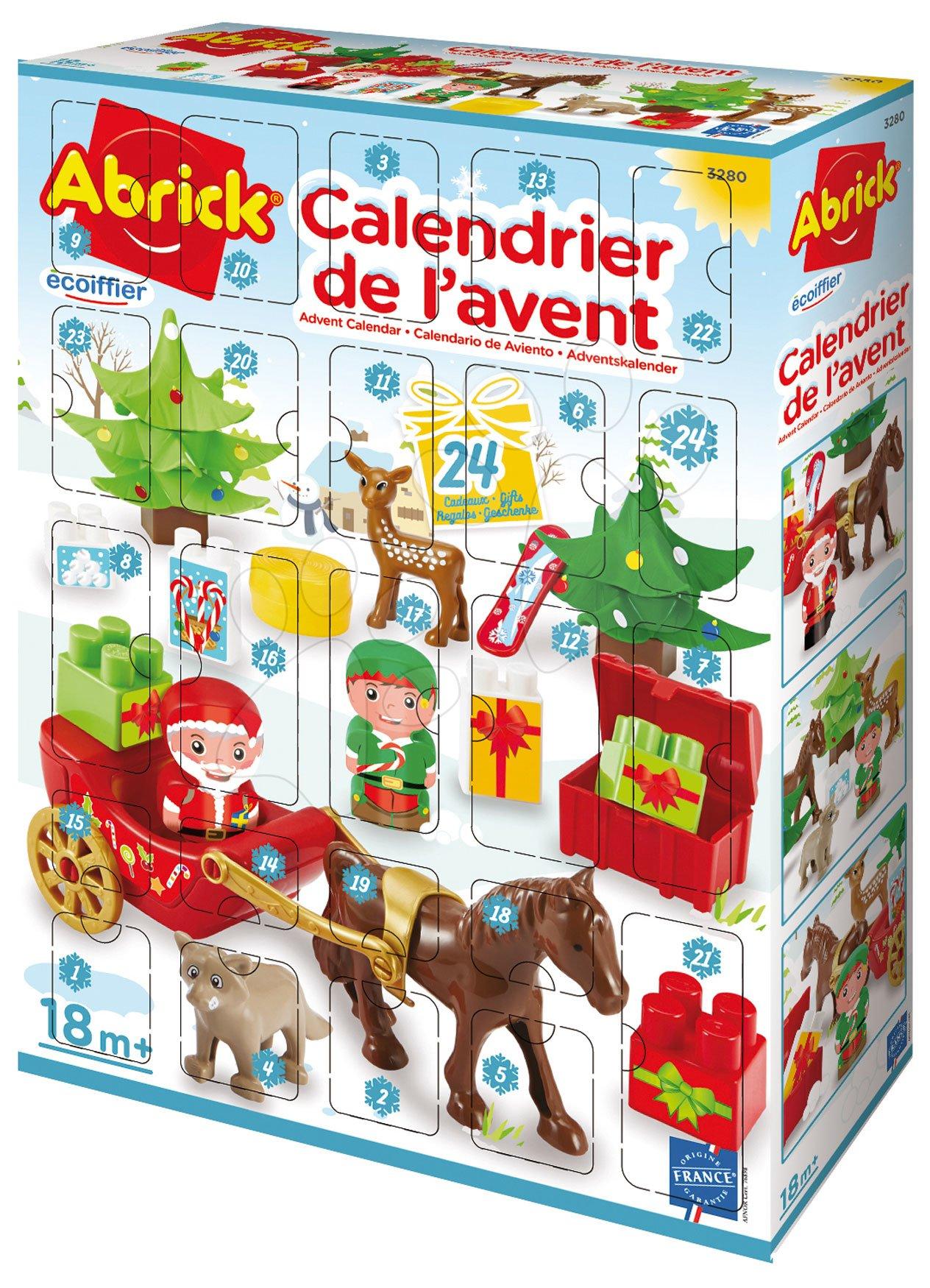 Cuburi de construit Abrick - Calendar Advent 2020 Abrick Écoiffier Moș Crăciun pe sanie și animale de pădure, cu 24 de piese de la 18 luni
