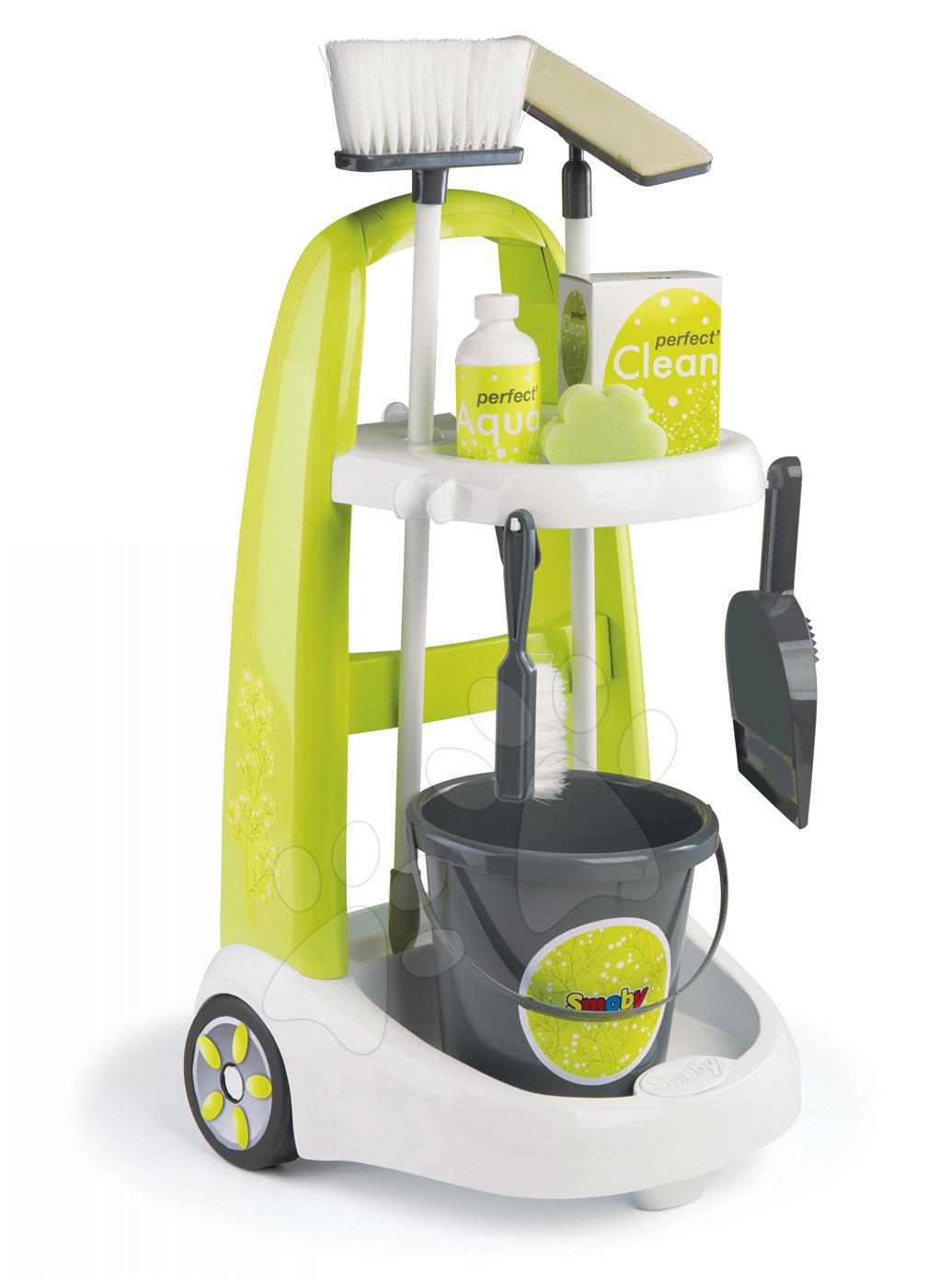 Úklidový vozík Clean Smoby s kbelíkem a 8 doplňky zelený