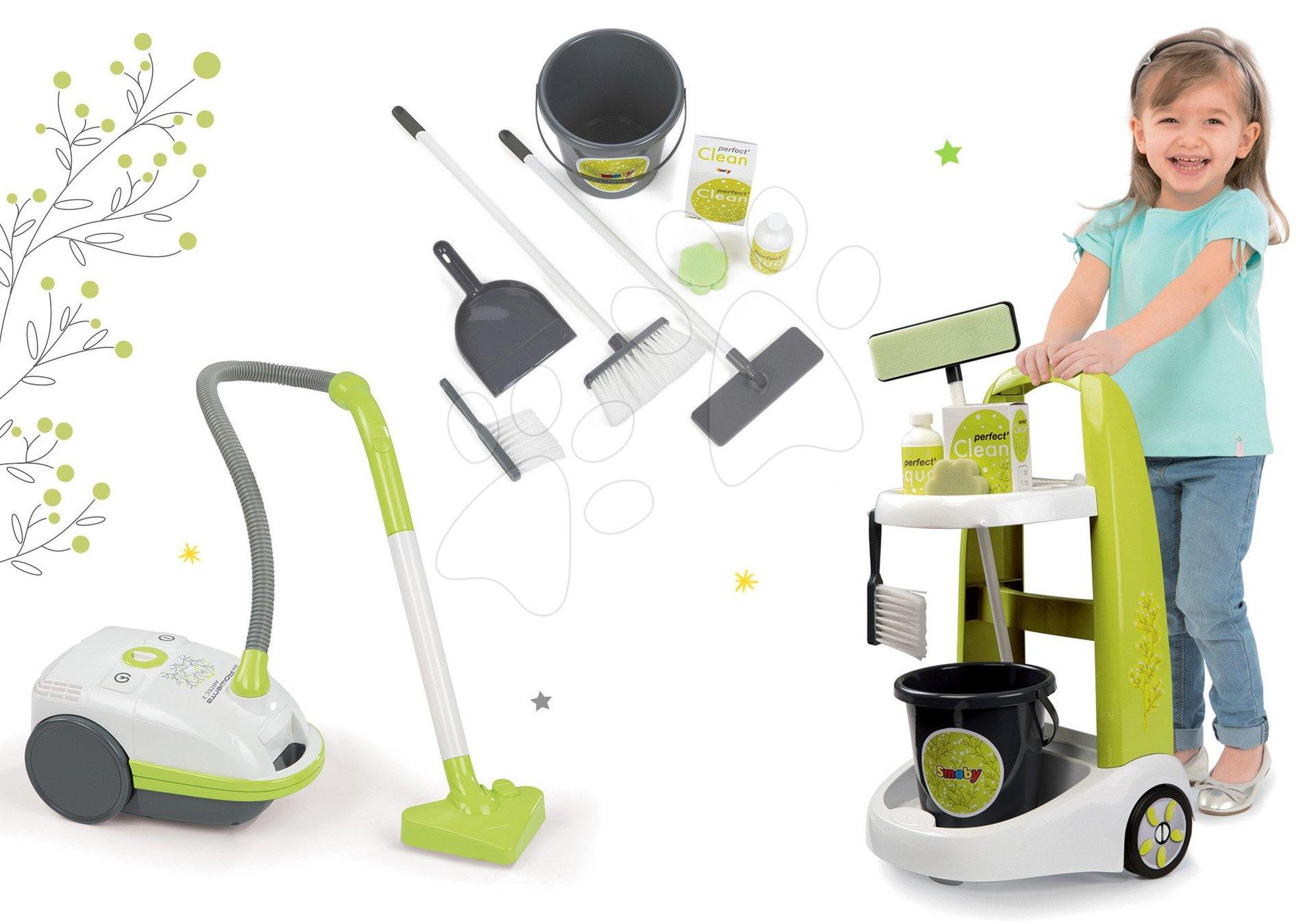 Set upratovací vozík s vedrom Clean Smoby a elektronický vysávač zelený