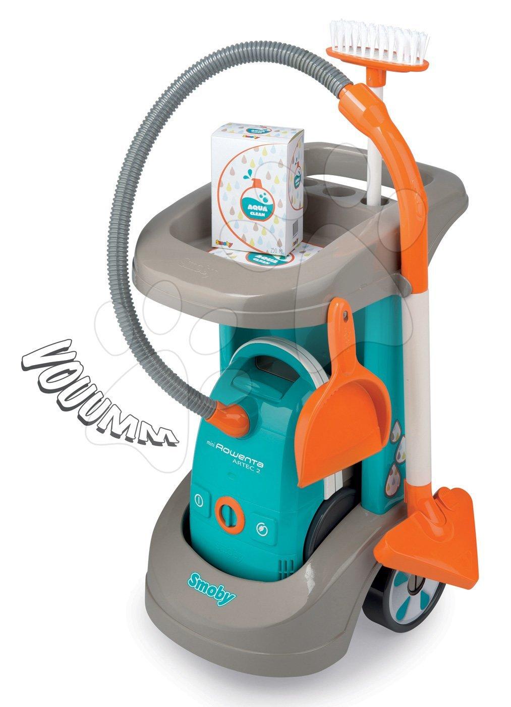 Upratovací vozík Rowenta Aqua Clean Smoby s elektronickým vysávačom a 3 doplnkami