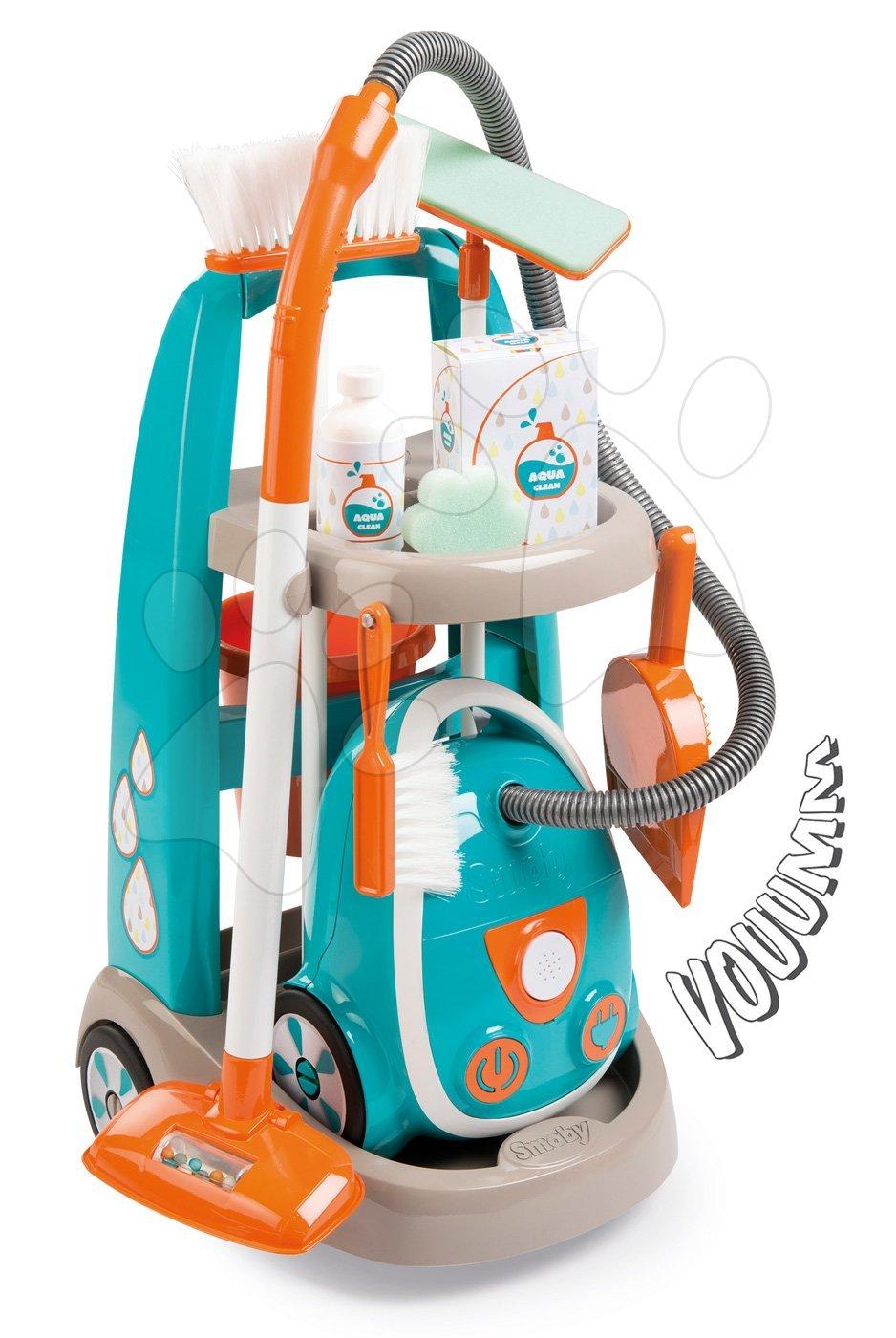 Cărucior pentru curăţenie cu aspirator electronic Vacuum Cleaner Smoby turcoaz cu 9 accesorii