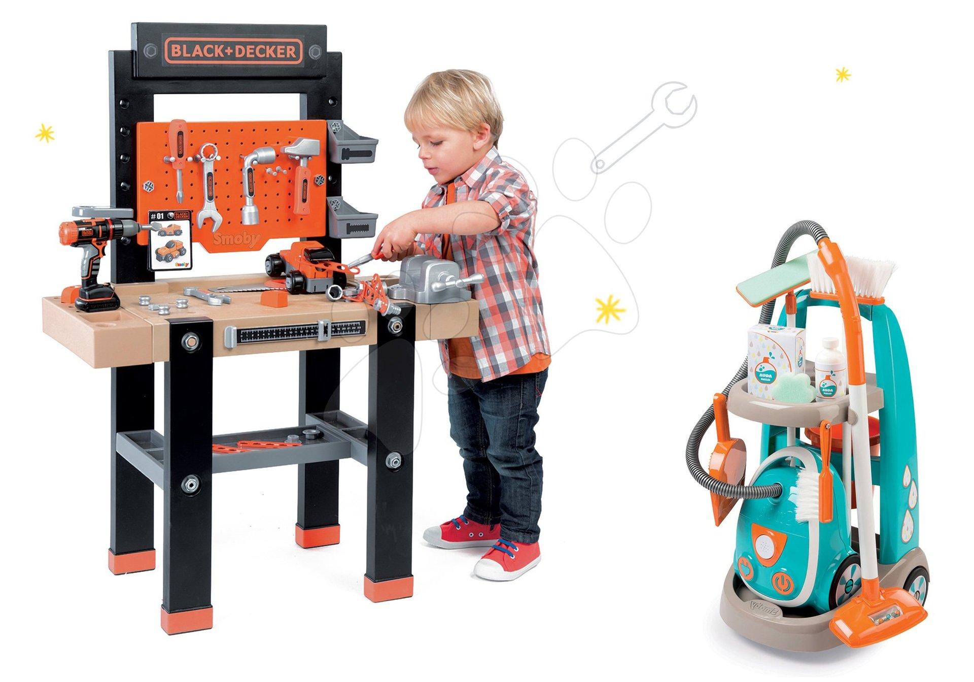 Smoby set upratovací vozík s elektronickým vysávačom Cleaner a pracovný stôl Black&Decker 330309-12