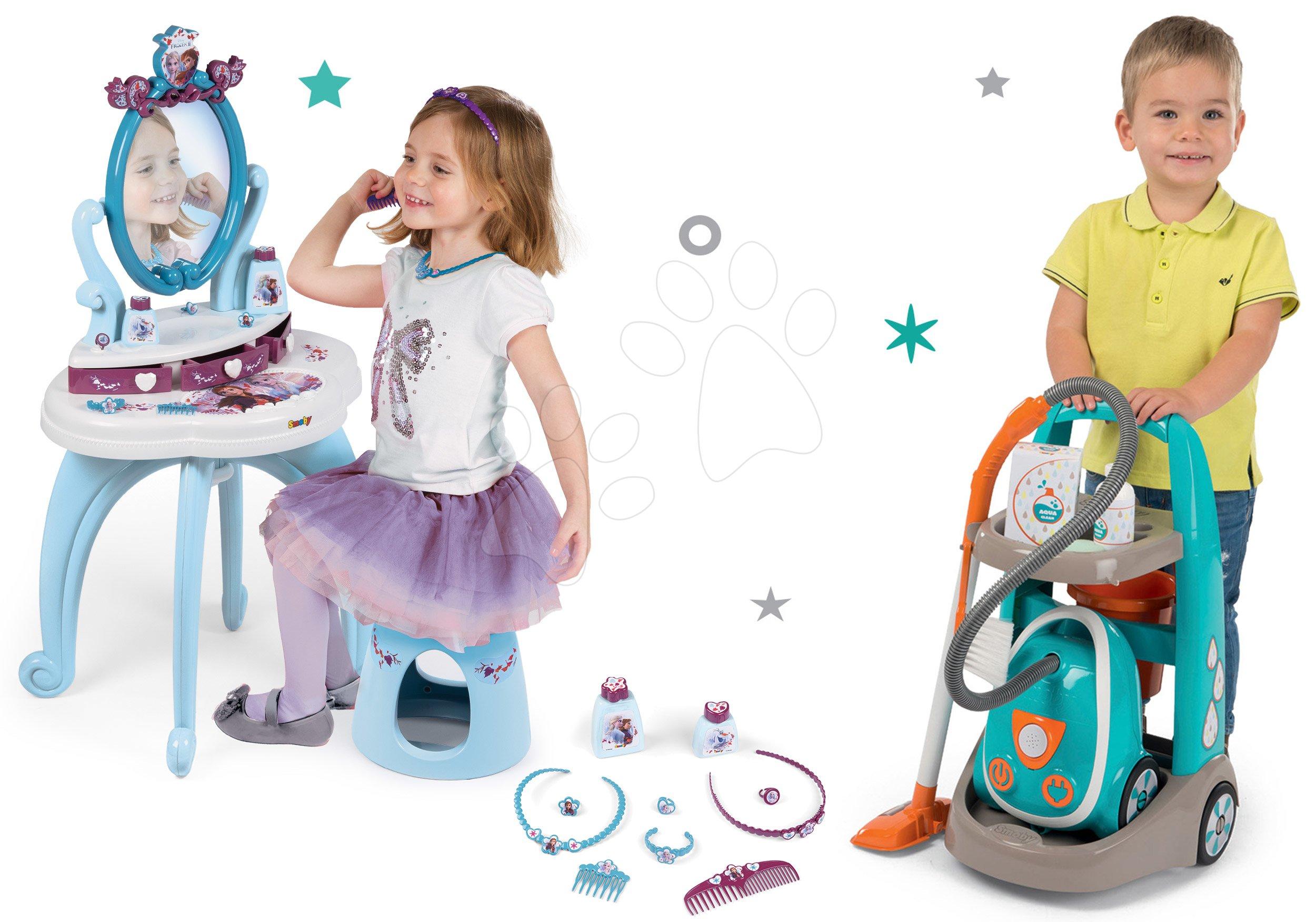 Hry na domácnost - Set úklidový vozík s elektronickým vysavačem Vacuum Cleaner Smoby a kosmetický stolek Frozen se židlí