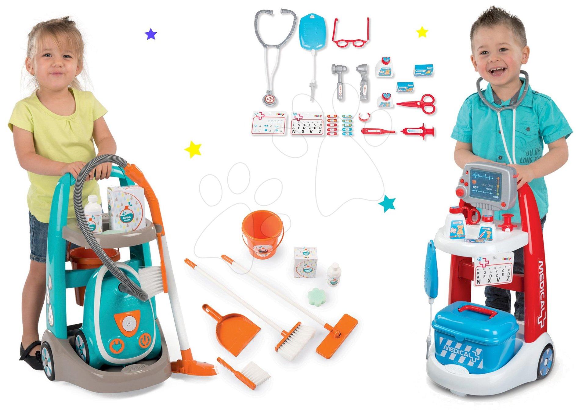 Set úklidový vozík s elektronickým vysavačem Vacuum Cleaner Smoby a lékařský vozík s kufříkem